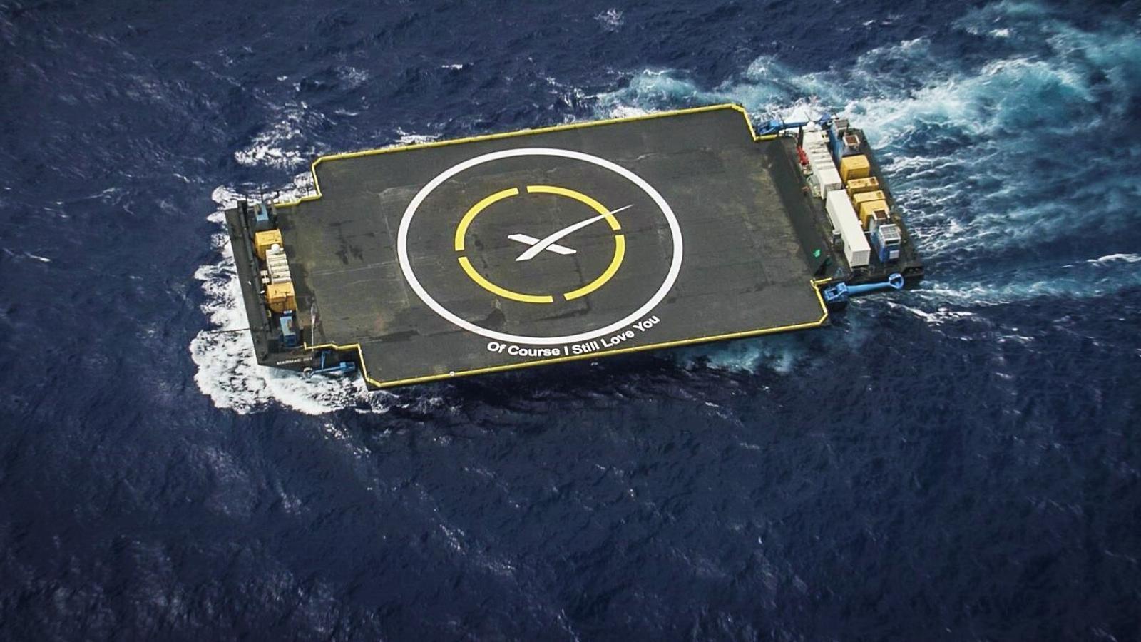 Una imatge de la plataforma 'Of course, I still love you', batejada amb aquest nom per decisió personal d'Elon Musk
