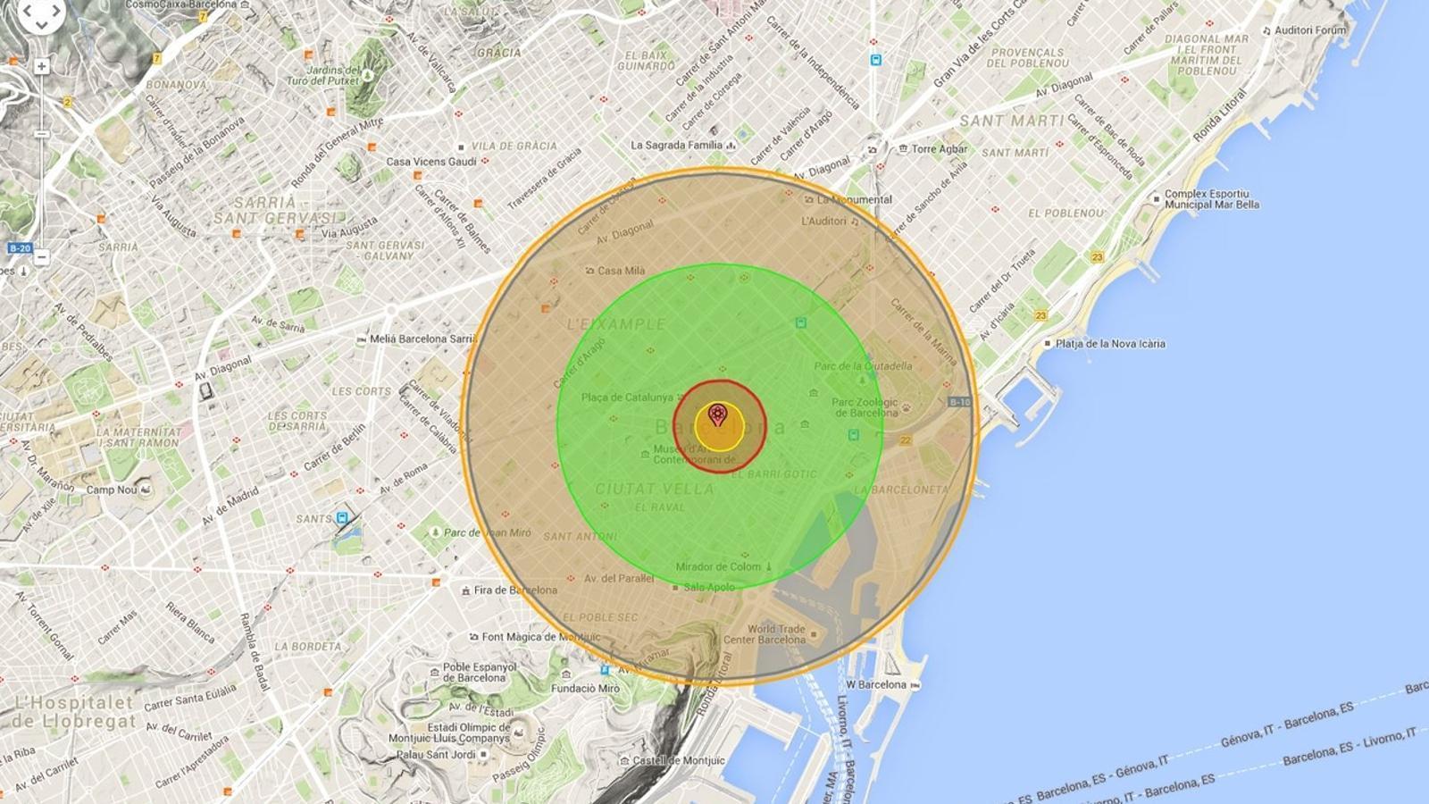Com afectaria l'explosió d'una bomba com la d'Hiroshima a la teva ciutat?