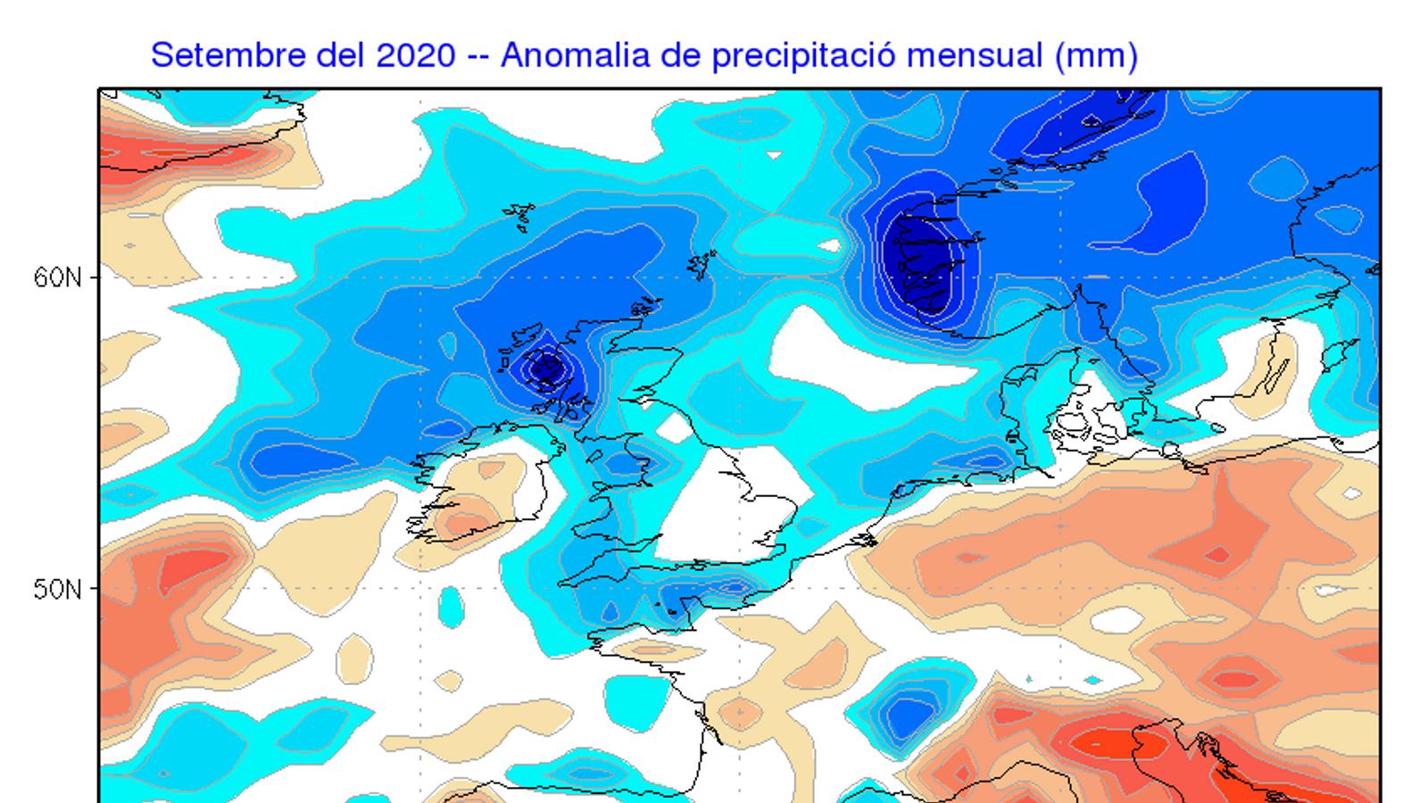 Anomalia de la precipitació prevista per aquest mes de setembre / ECMWF / Servei Meteorològic de Catalunya