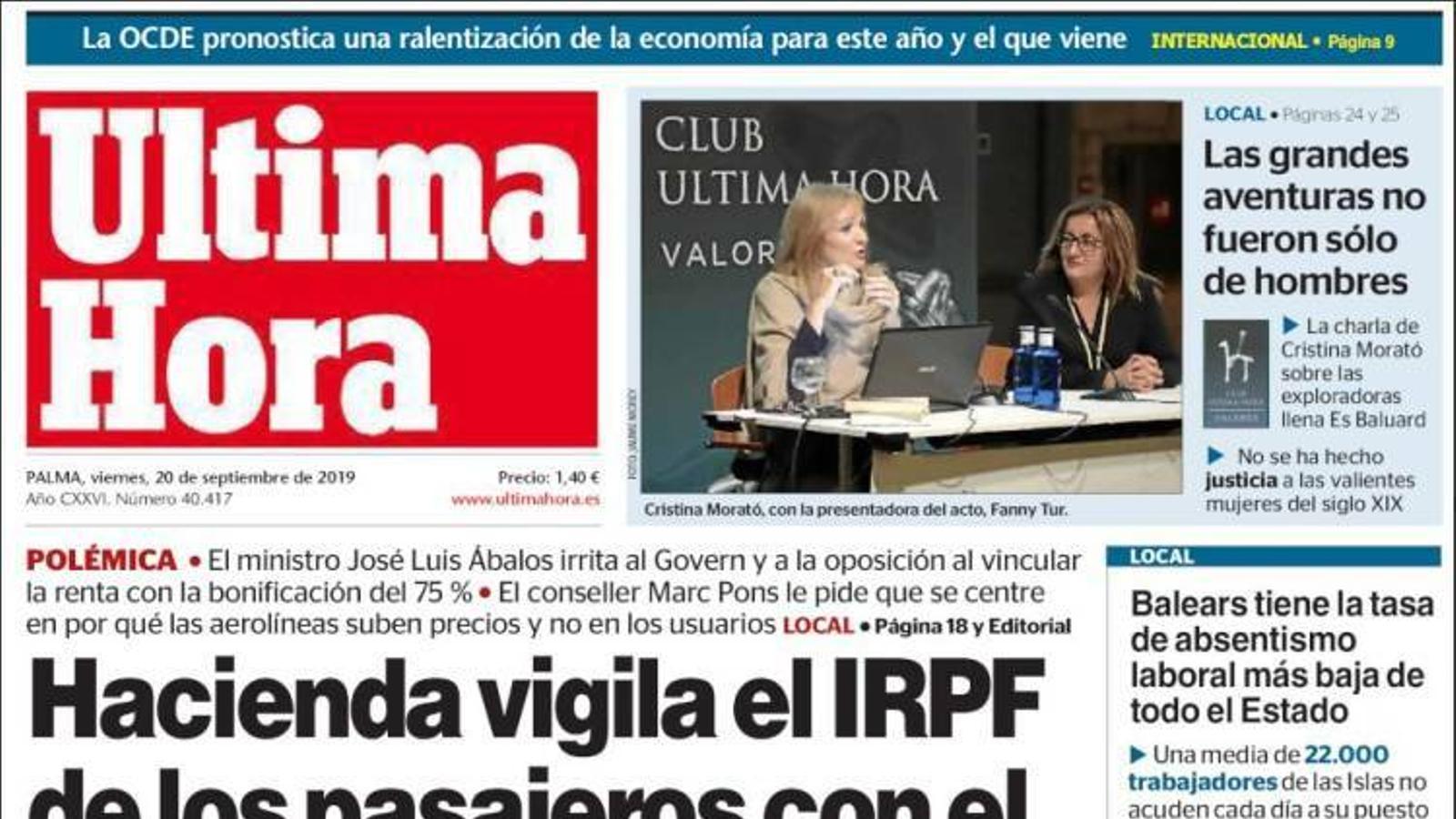 """""""Hisenda vigila l'IRPF dels passatgers amb el descompte de resident"""", a la portada d''Última Hora'"""