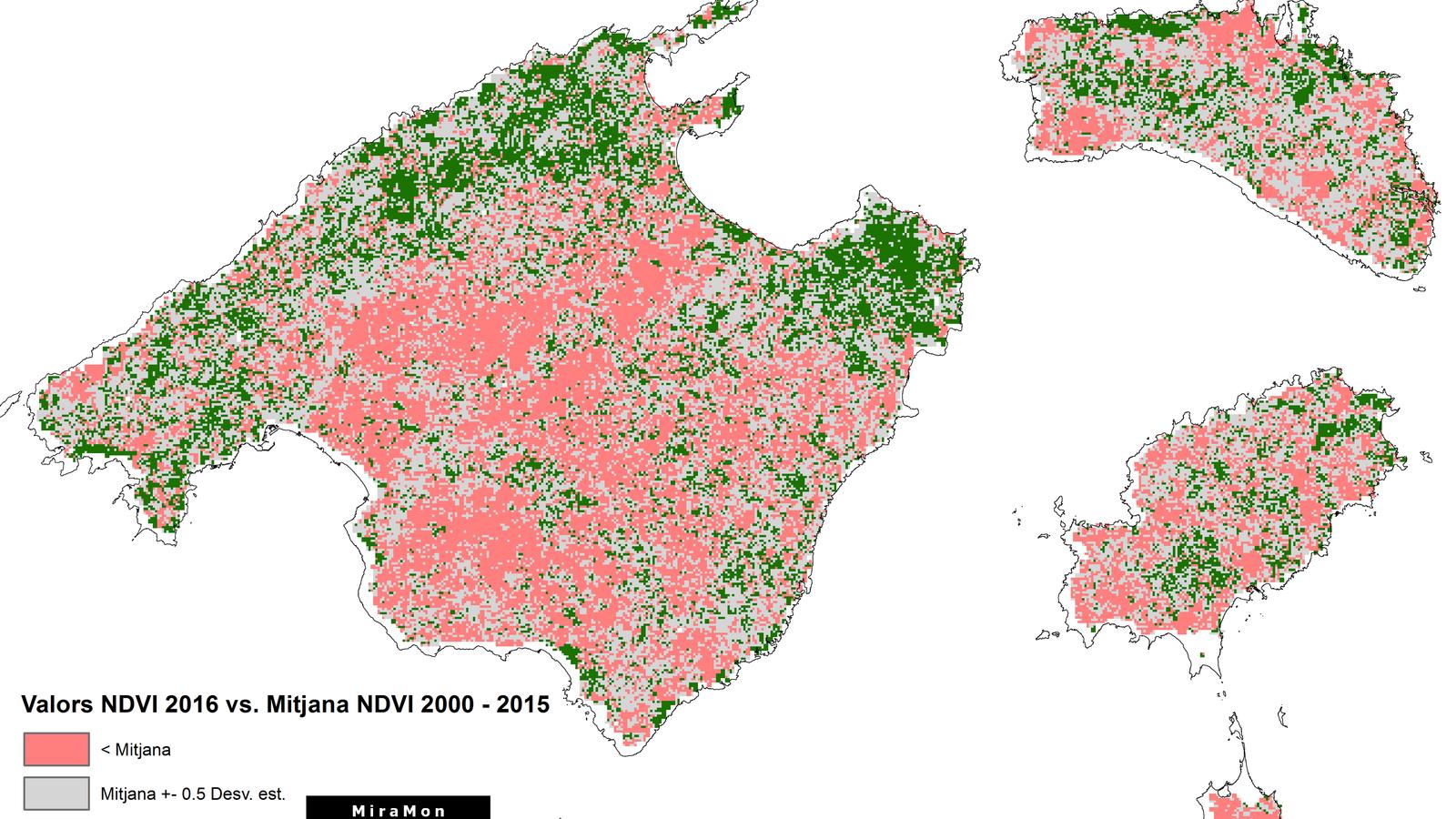 FIGURA 2. Mapa d'anomalies que reflecteix la pèrdua/augment de vigor de la vegetació de la darrera quinzena d'abril d'enguany amb la mitjana dels darrers 15 anys. / NASA