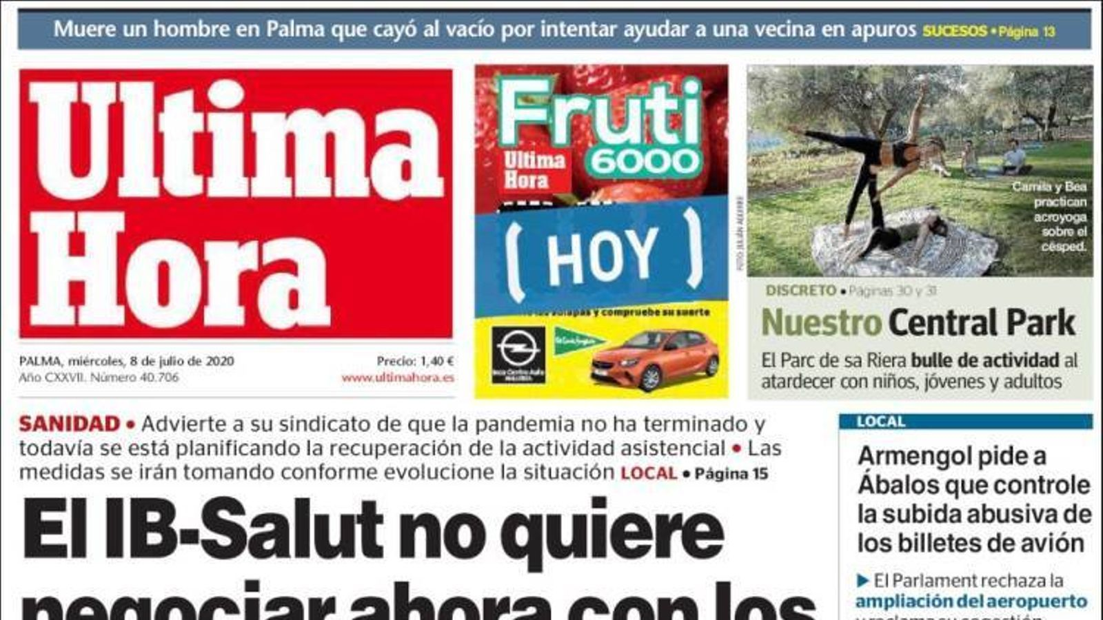 """""""El brot de Lleida desborda una sanitat en precari"""", portada d''El País'"""