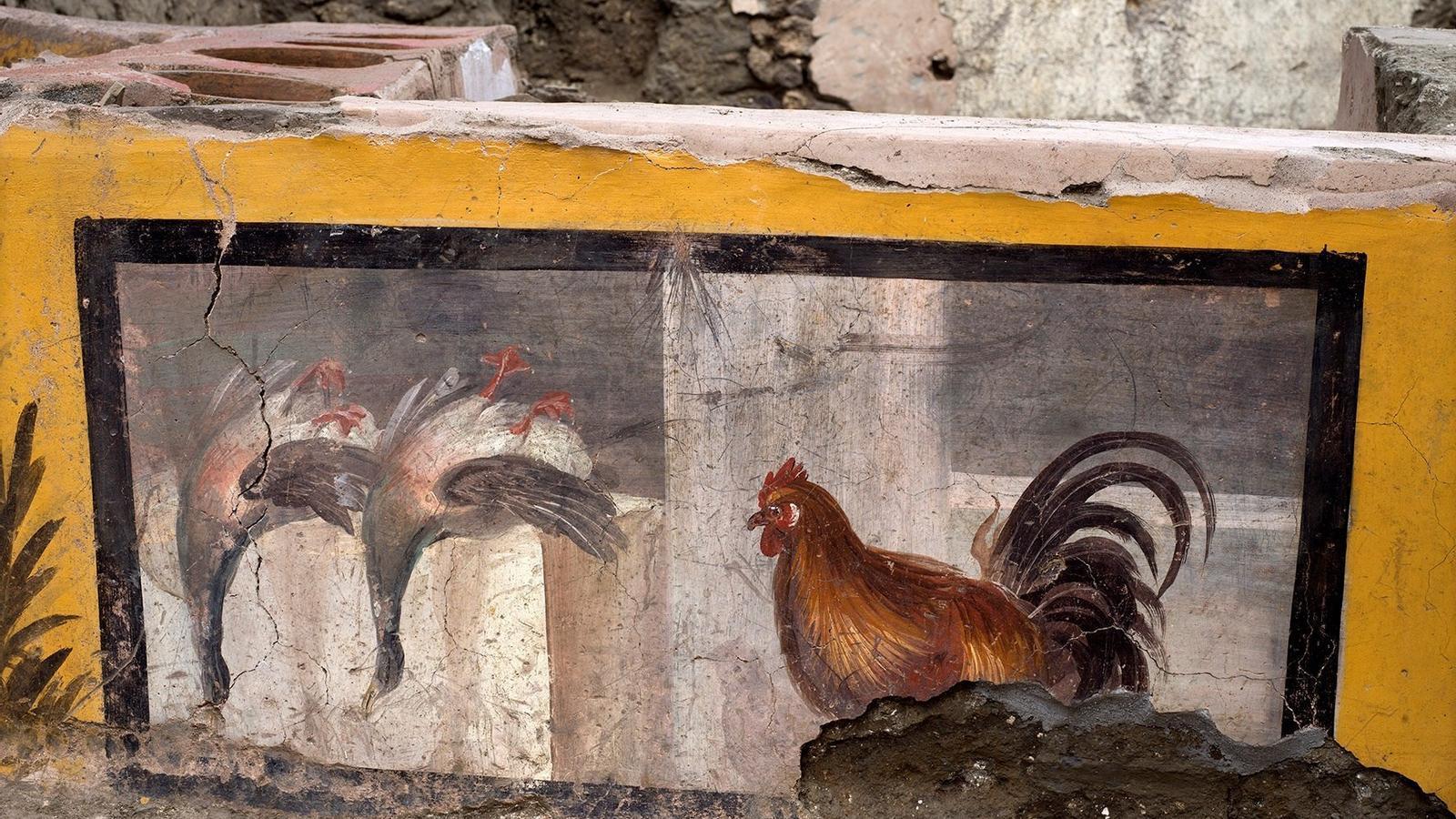 Detall del 'thermopolium' descobert a Pompeia.