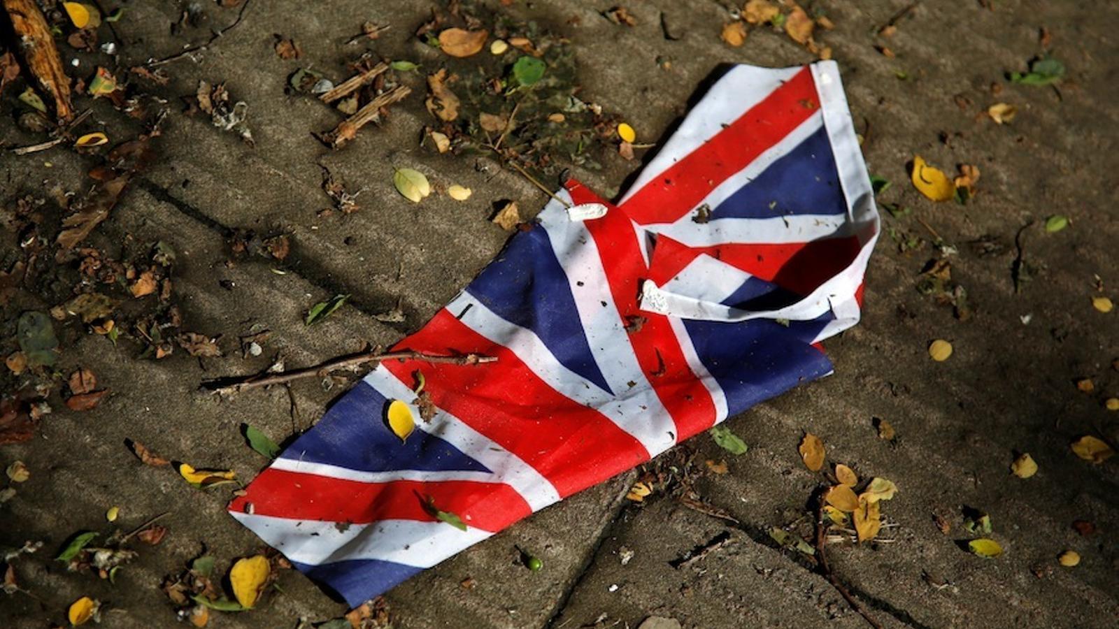 Una bandera britànica en un carrer de Londres.