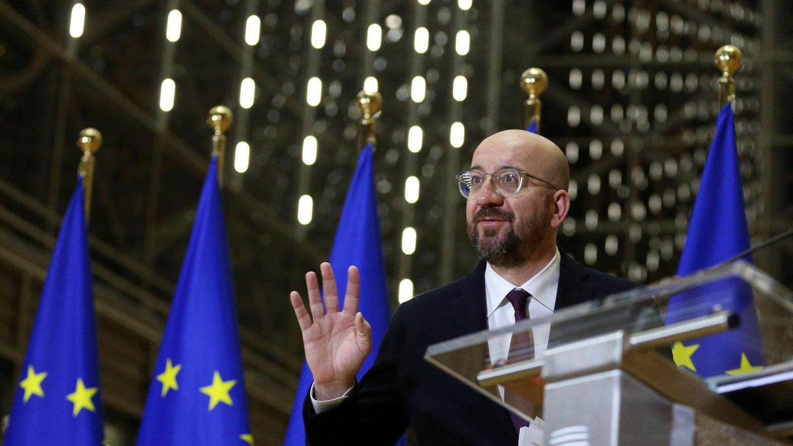 El president del Consell Europeu, Charles Michel, durant la roda de premsa dijous després de la reunió dels líders europeus.