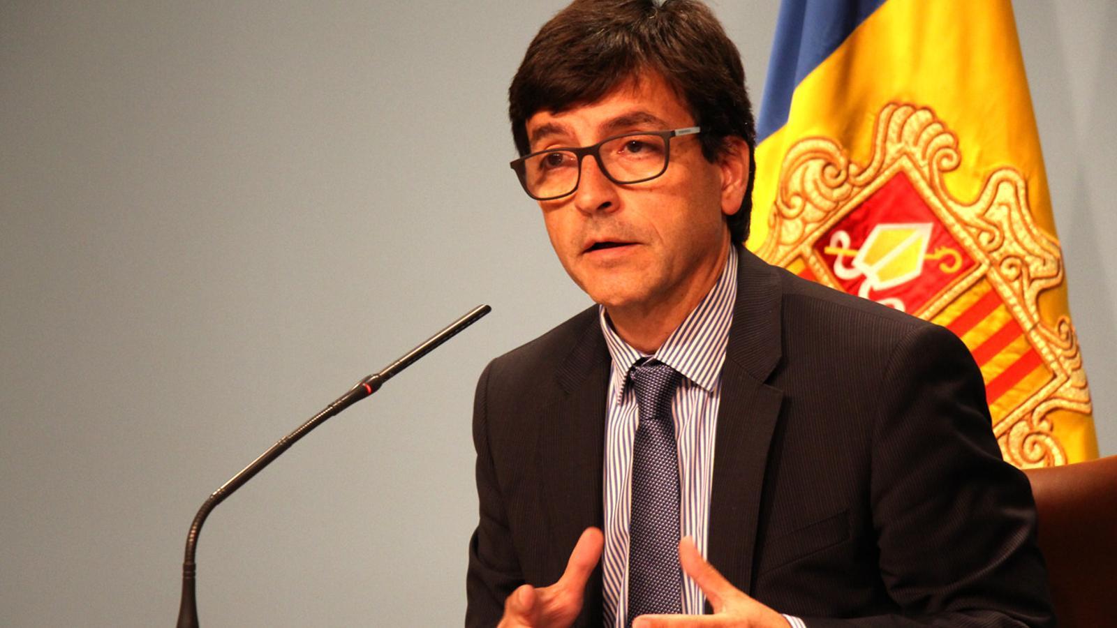 El ministre portaveu, Jordi Cinca, en la roda de premsa posterior al Consell de Ministres