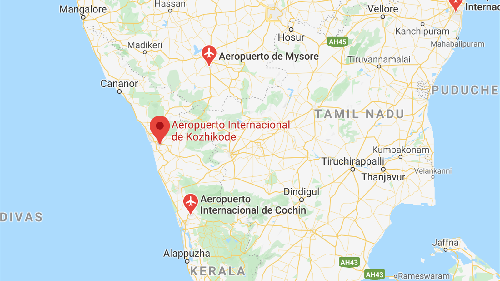 L'aeroport de Kozhikode, a calcula, on s'ha produït l'accident