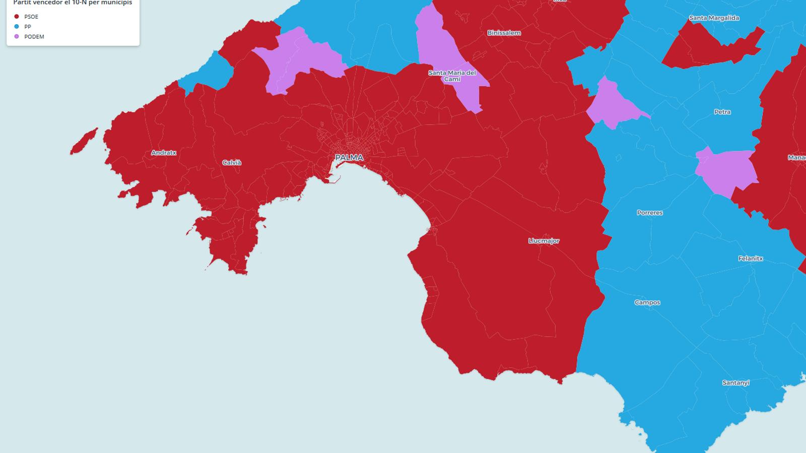 Captura de pantalla del mapa del guanyador del 10-N per municipis a les Balears