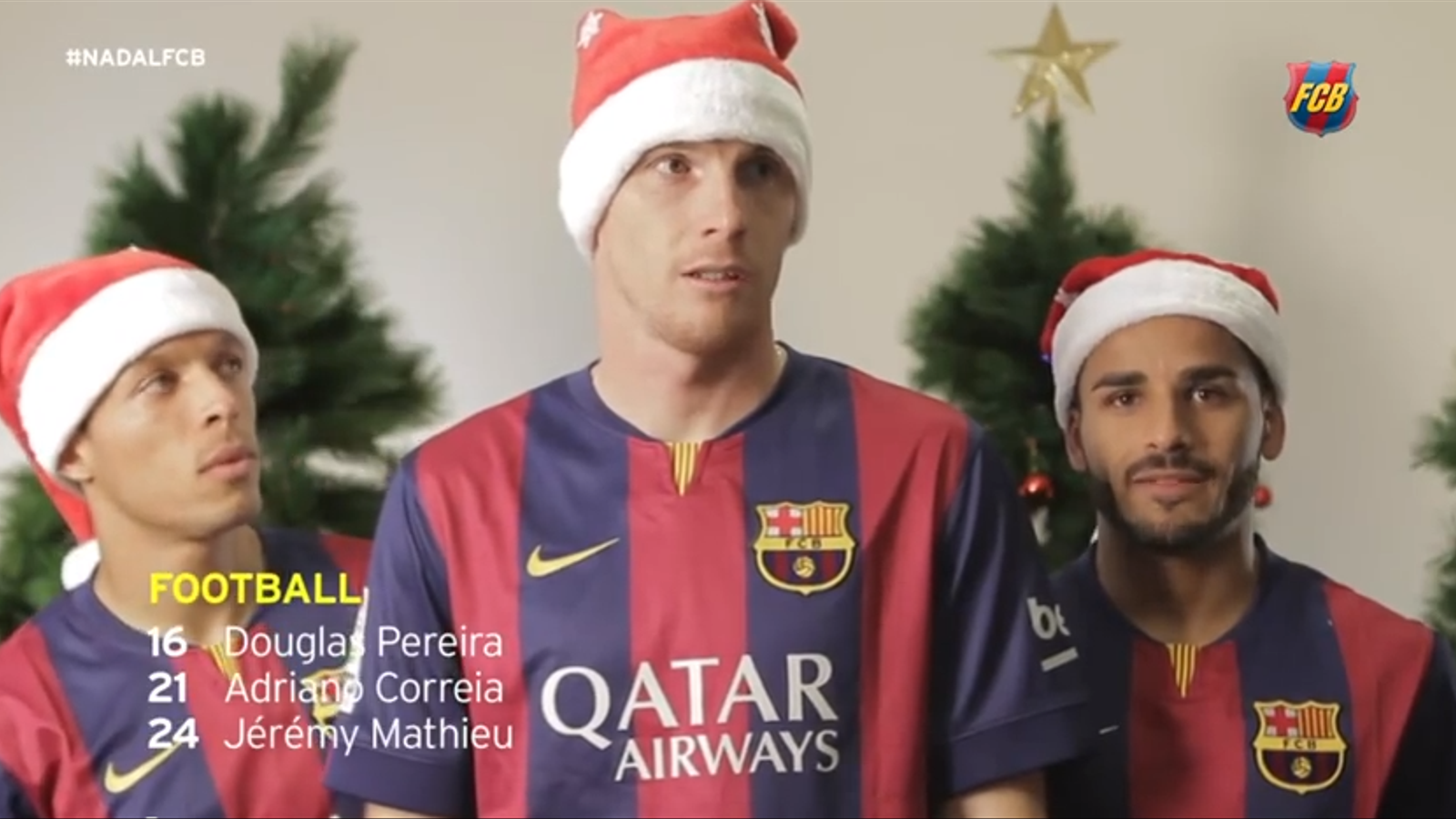 Mathieu, Adriano i Douglas, protagonistes de l'anunci de Nadal del Barça