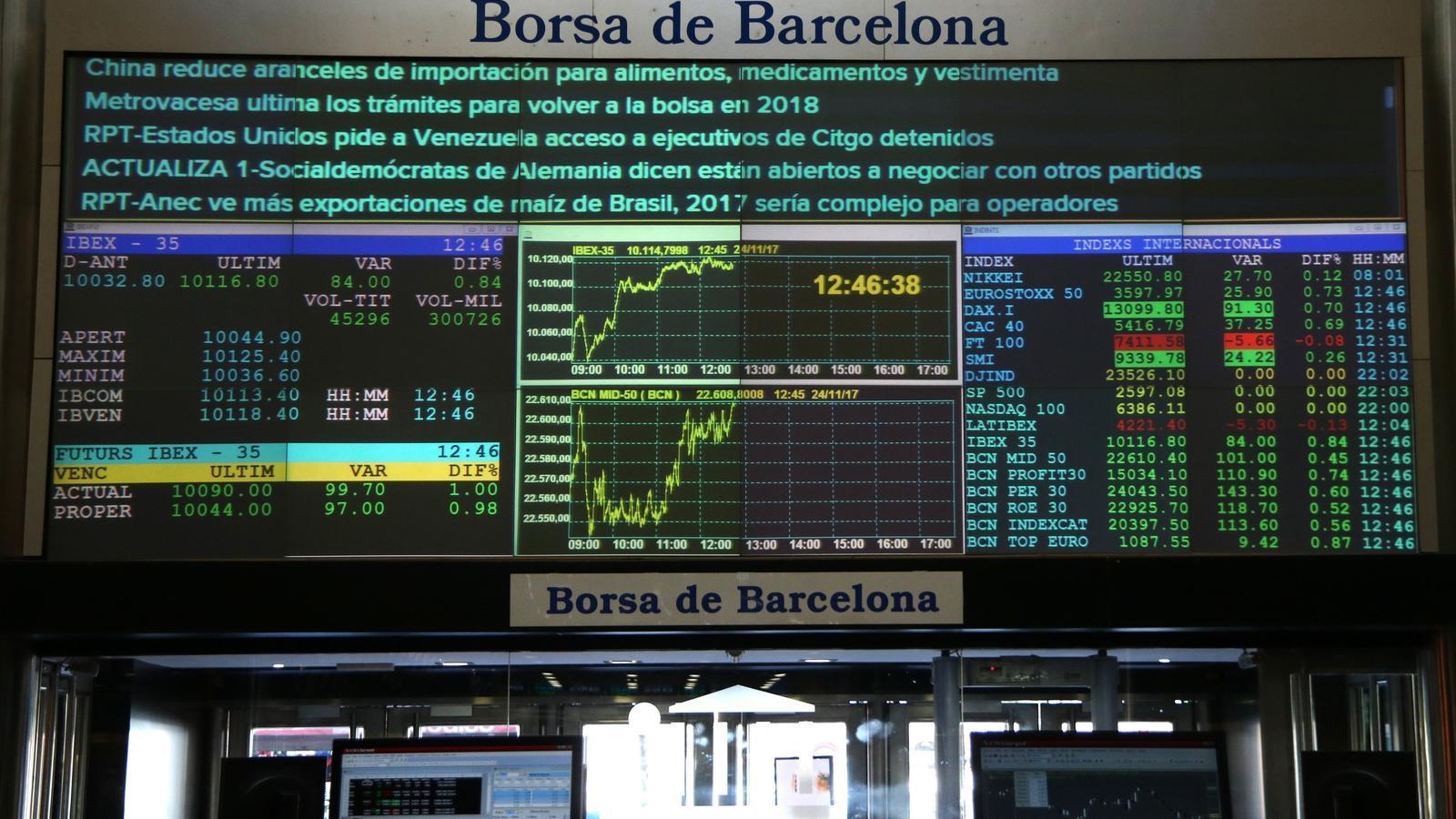 Imatge d'arxiu de l'interior de la Borsa de Barcelona.
