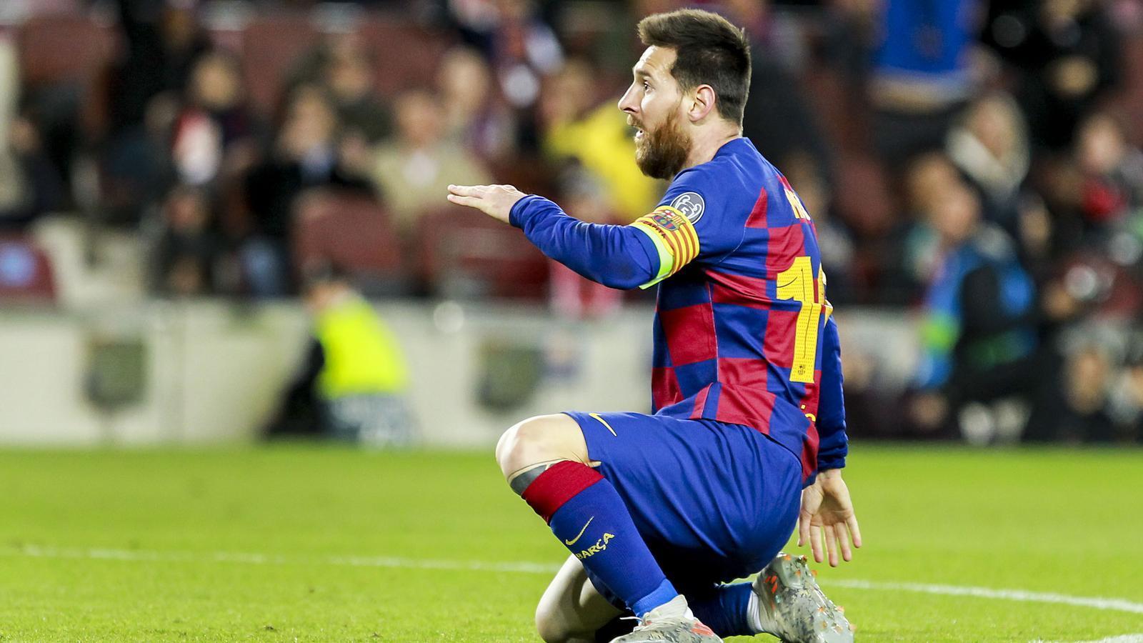 Messi durant el partit de futbol Champions FC Barcelona Barça Slavia Praga