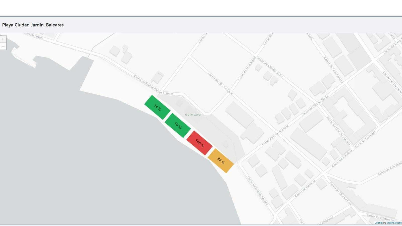 Simulació de la interfície que mostrarà a les autoritats la densitat d'ocupació de la platja de Ciutat Jardí.