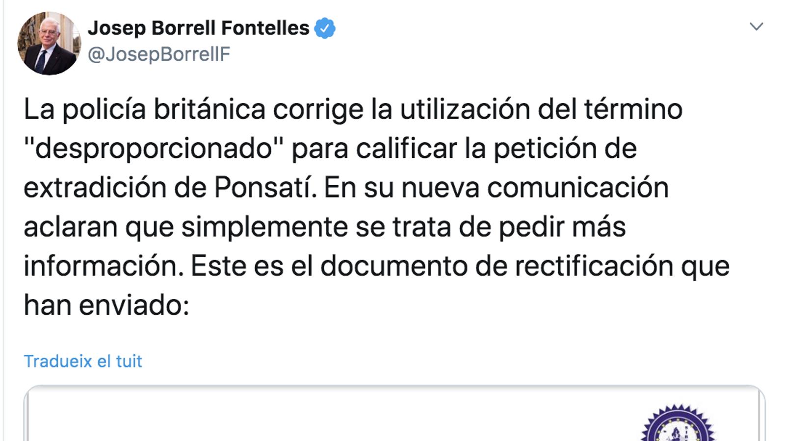 Tuit de Josep Borrell
