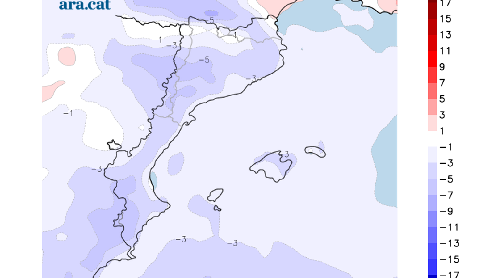 Diferència prevista entre la temperatura màxima d'avui i la de dissabte