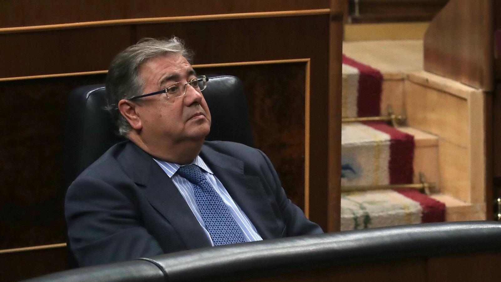 El ministre de l'Interior, Juan Ignacio Zoido, al seu escó del Congrés.