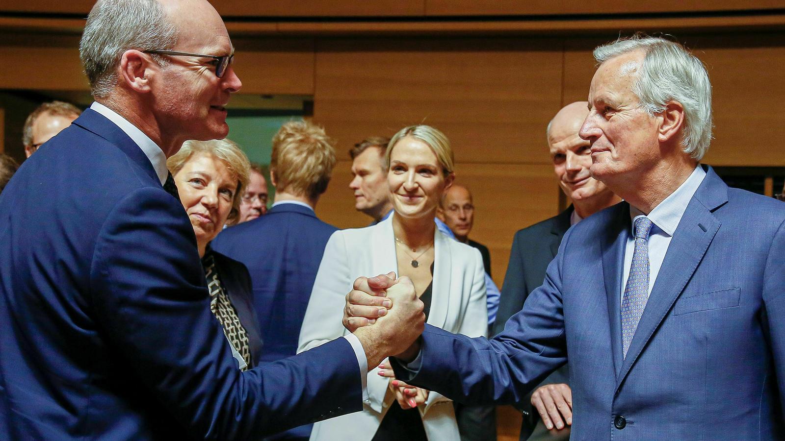El negociador en cap del Brexit, Michel Barnier, amb el ministre d'Exteriors irlandès, Simon Coveney.