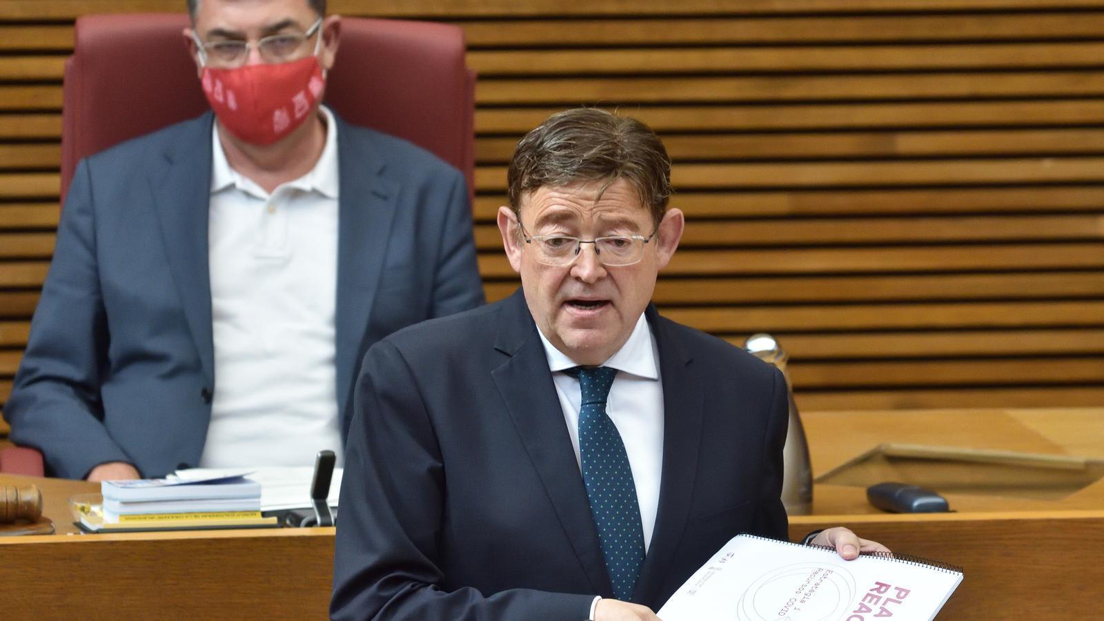 El president del Consell, Ximo Puig, durant la seva intervenció al ple de les Corts