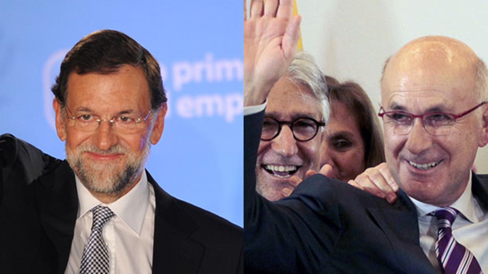 Mariano Rajoy i Duran i Lleida, la nit del 20-N. Fotomuntatge