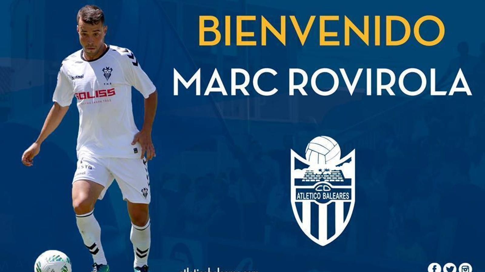 MarcRovirola, nou jugador delAtlètic Balears