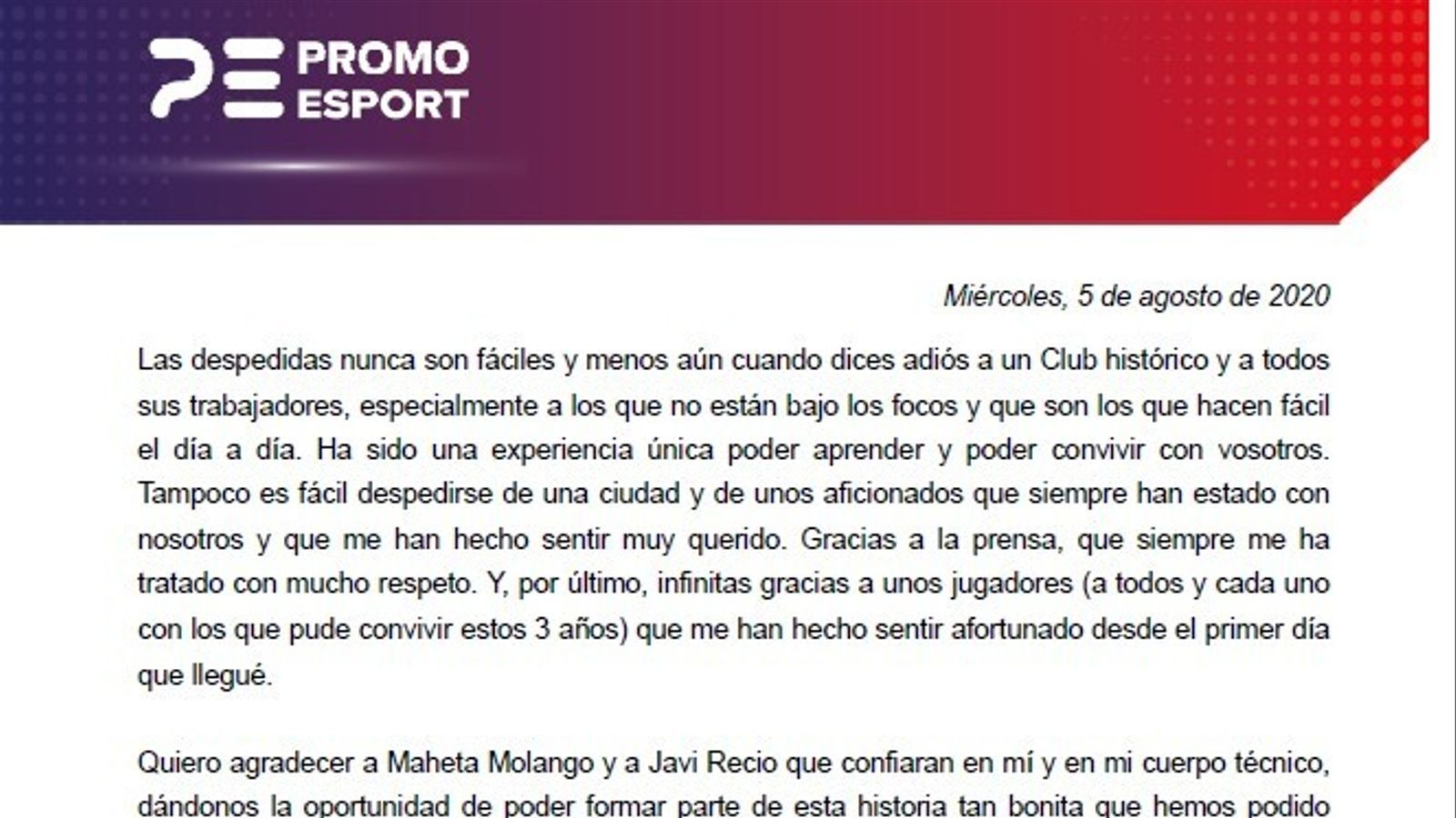 La carta de comiat de Vicente Moreno del Mallorca