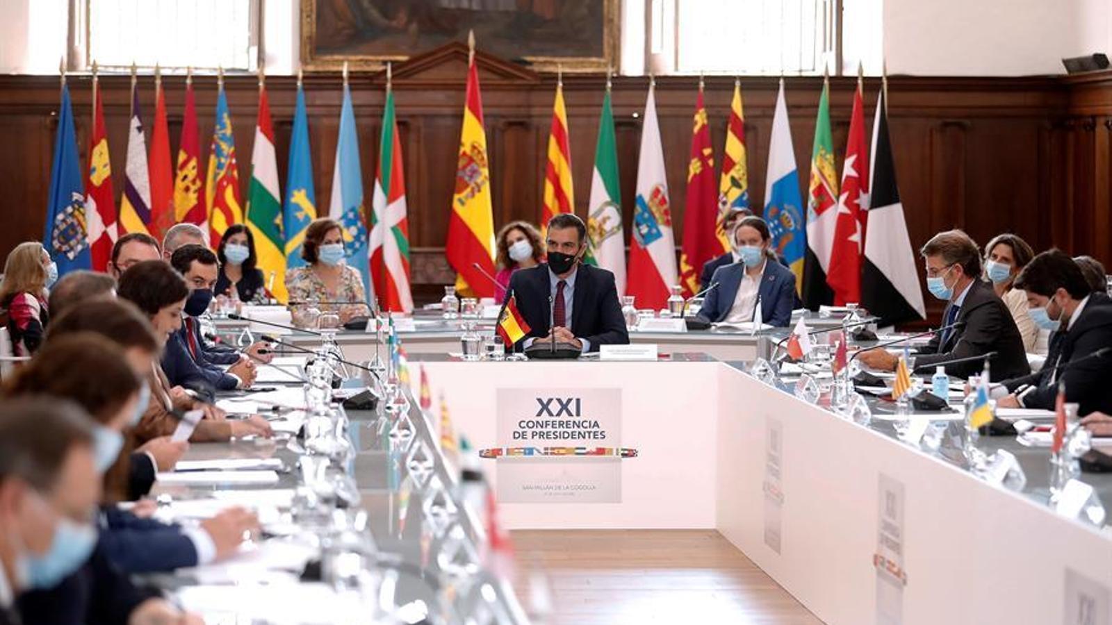 El president del govern espanyol, Pedro Sánchez, encapçalant la conferència de presidents autonòmics