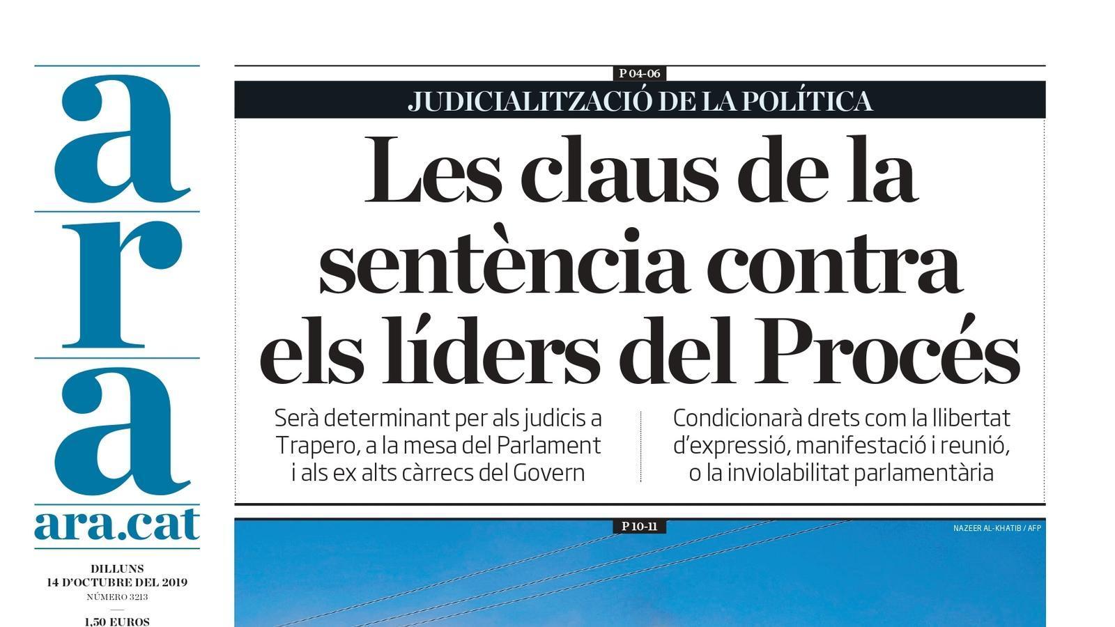 """""""Les claus de la sentència contra els líders del Procés"""", la portada de l'ARA"""