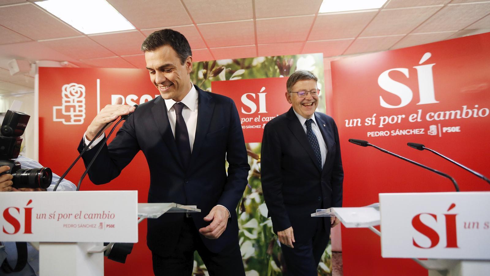 Pedro Sánchez i Ximo Puig aquest dijous a la seu del PSPV.