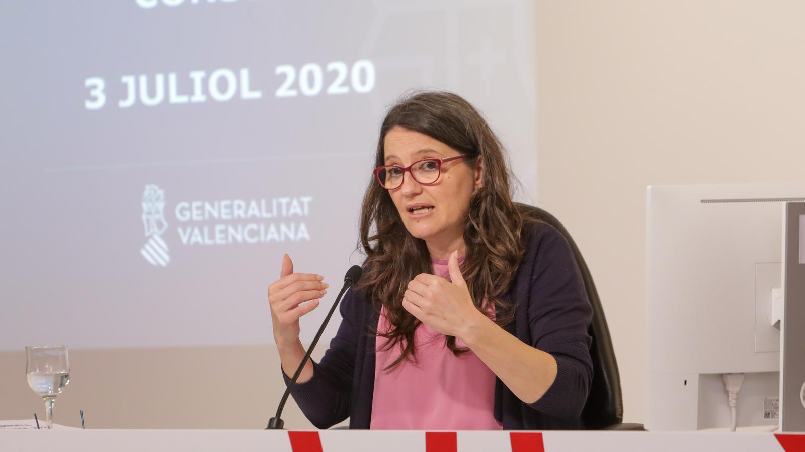 La vicepresidenta i portaveu del govern valencià, Mónica Oltra, en la conferència de premsa posterior a la reunió del Consell