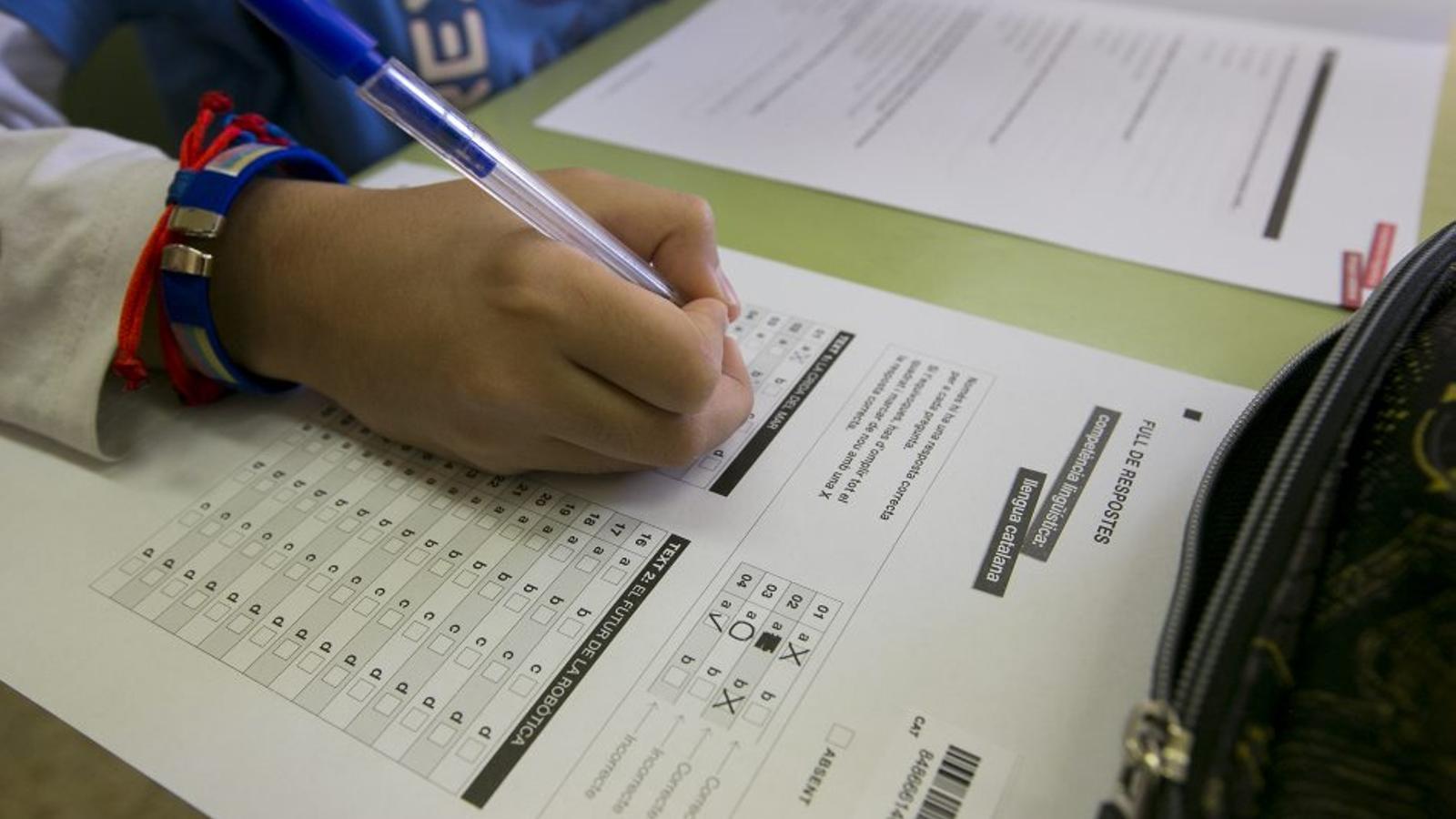 Un examen de català en una escola de Barcelona. Els professionals reclamen que l'atenció no se centri només en aspectes formals.