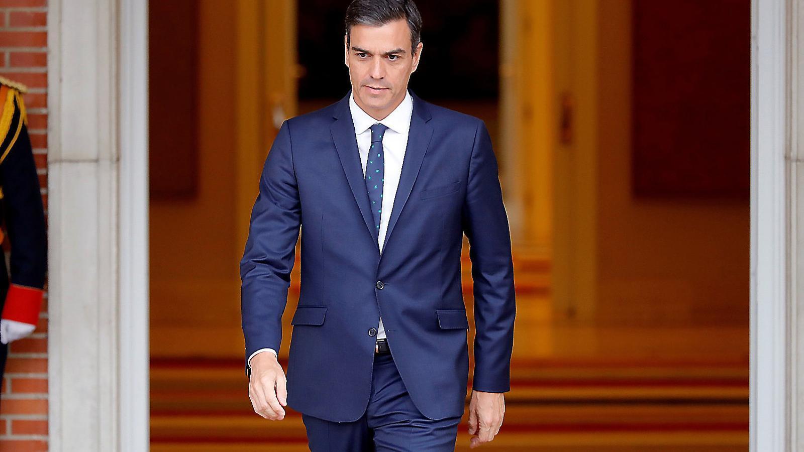 El president espanyol, Pedro Sánchez, ahir al Palau de la Moncloa.