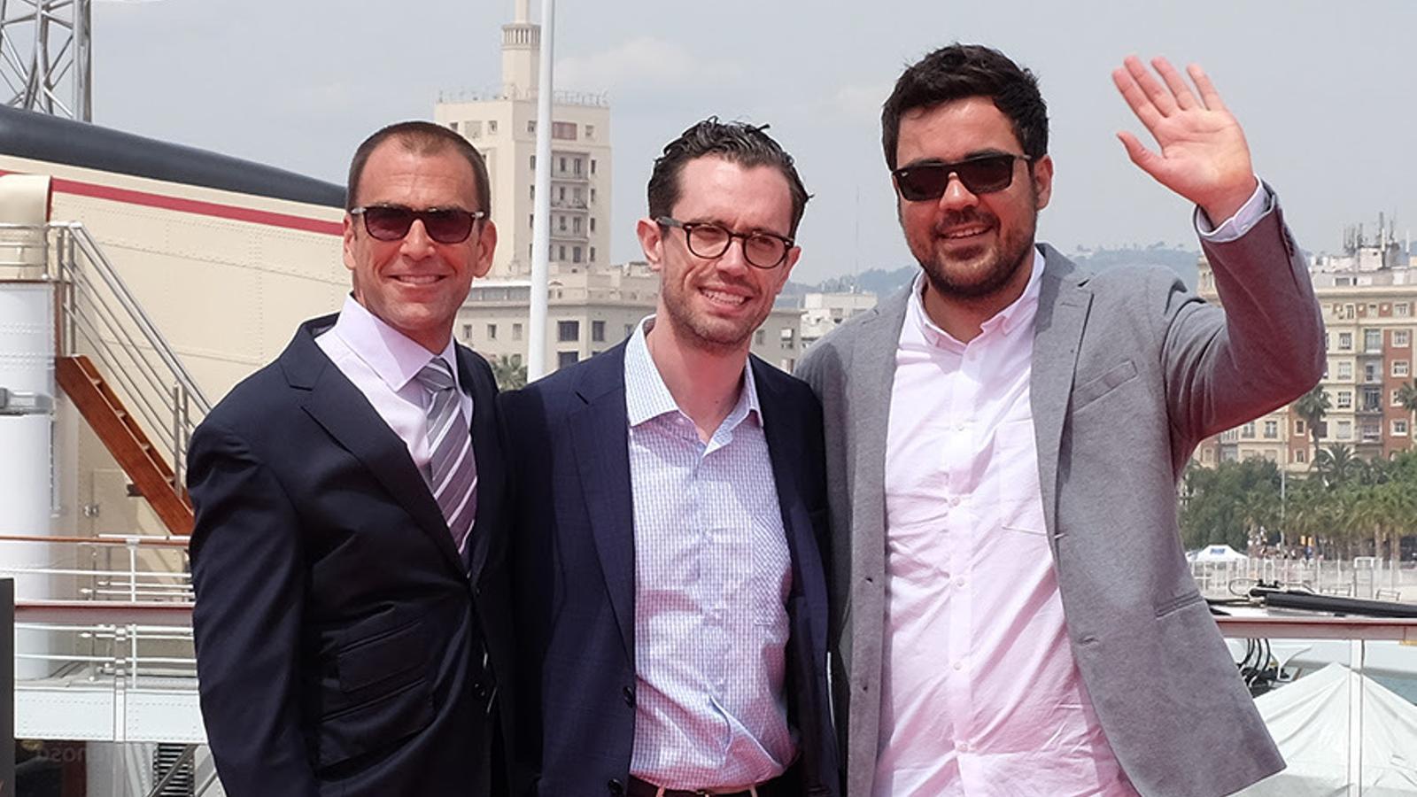 De dreta a esquerra, Carles Torras, director de 'Callback', Martín Bacigalupo, actor protagonista, i Timothy Gibbs, actor secundari