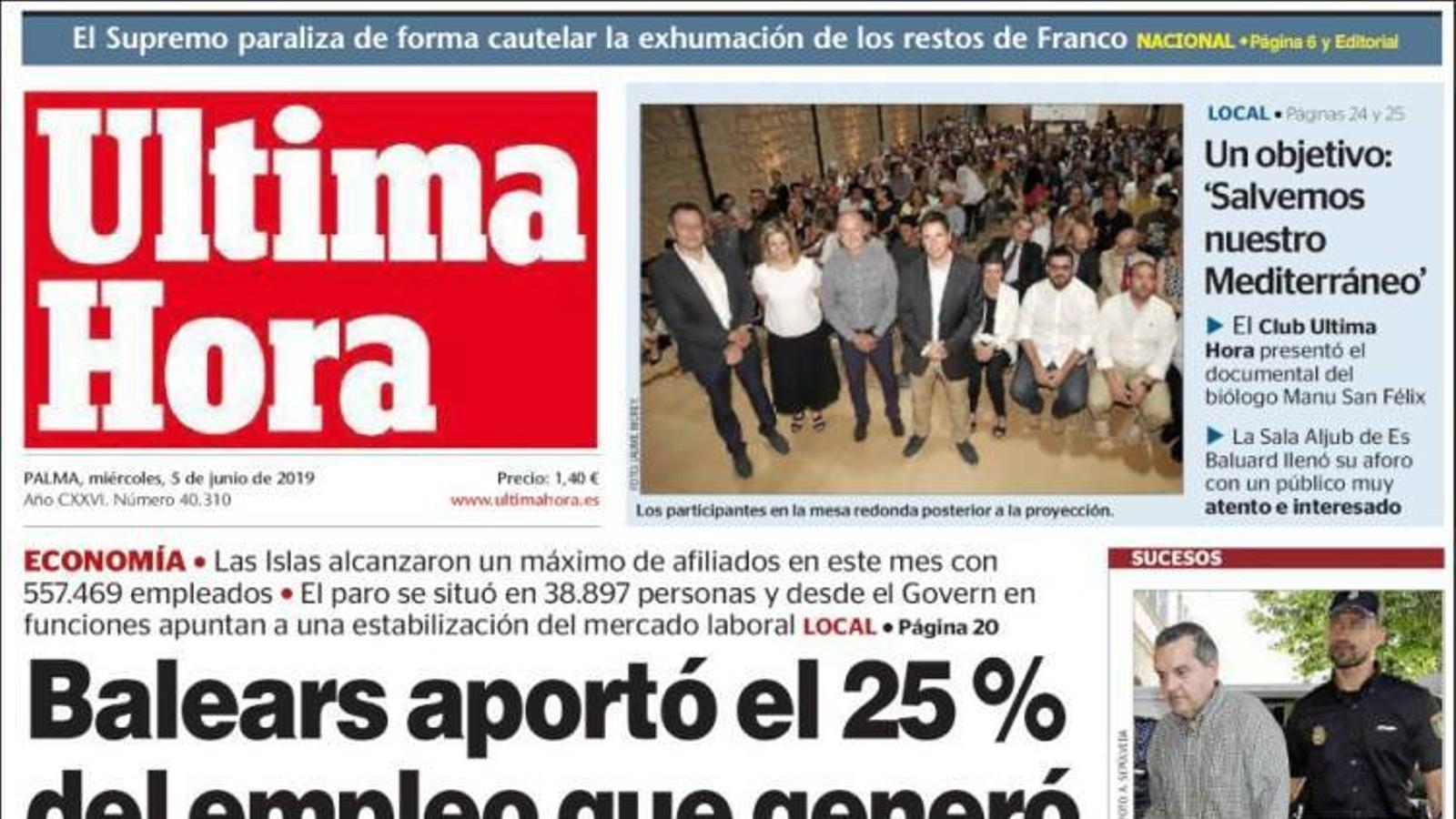 """""""'Un cop d'estat amb violència'"""", portada de 'La Razón'"""