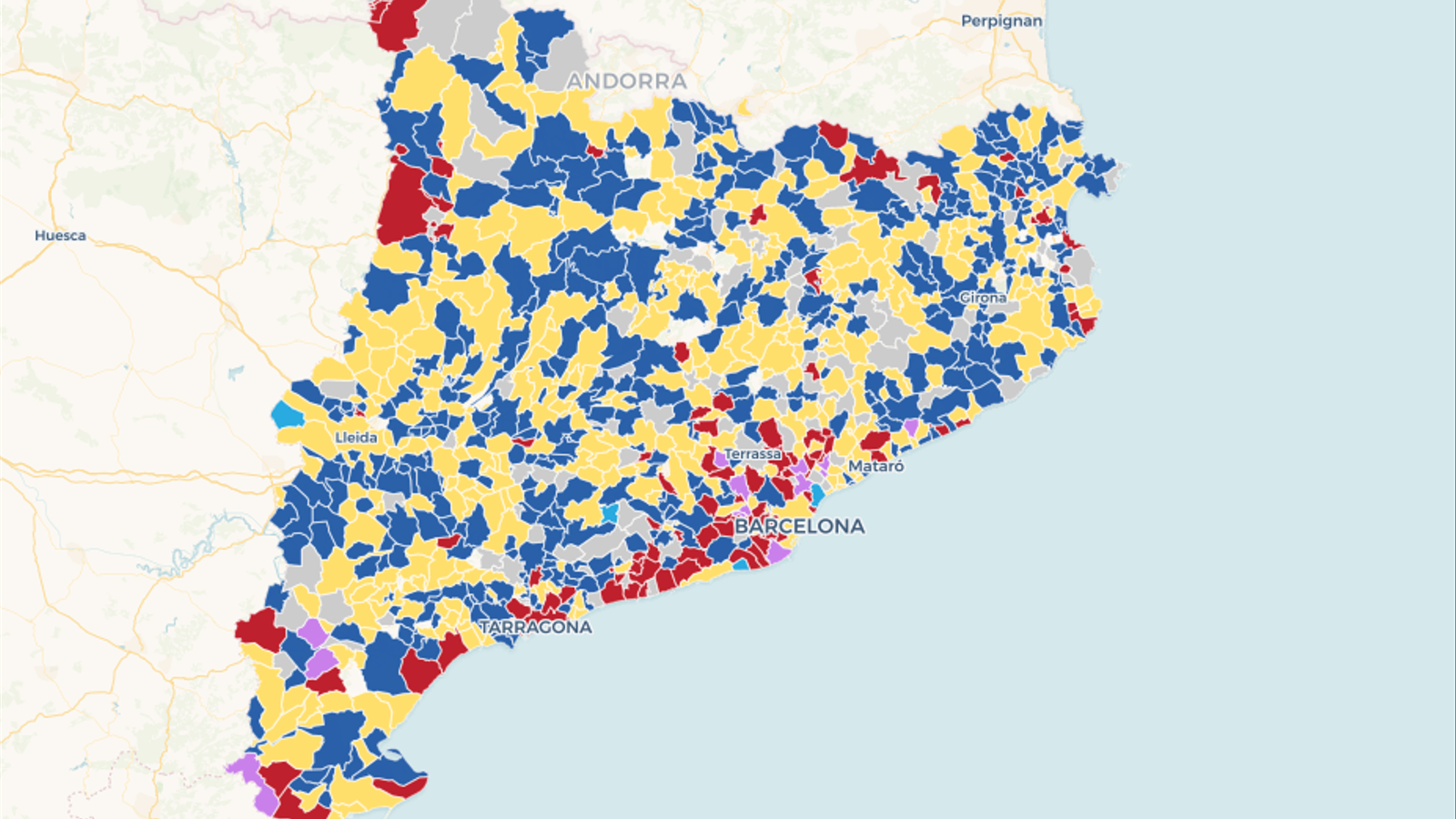 Mapa: El guanyador de les municipals, poble a poble