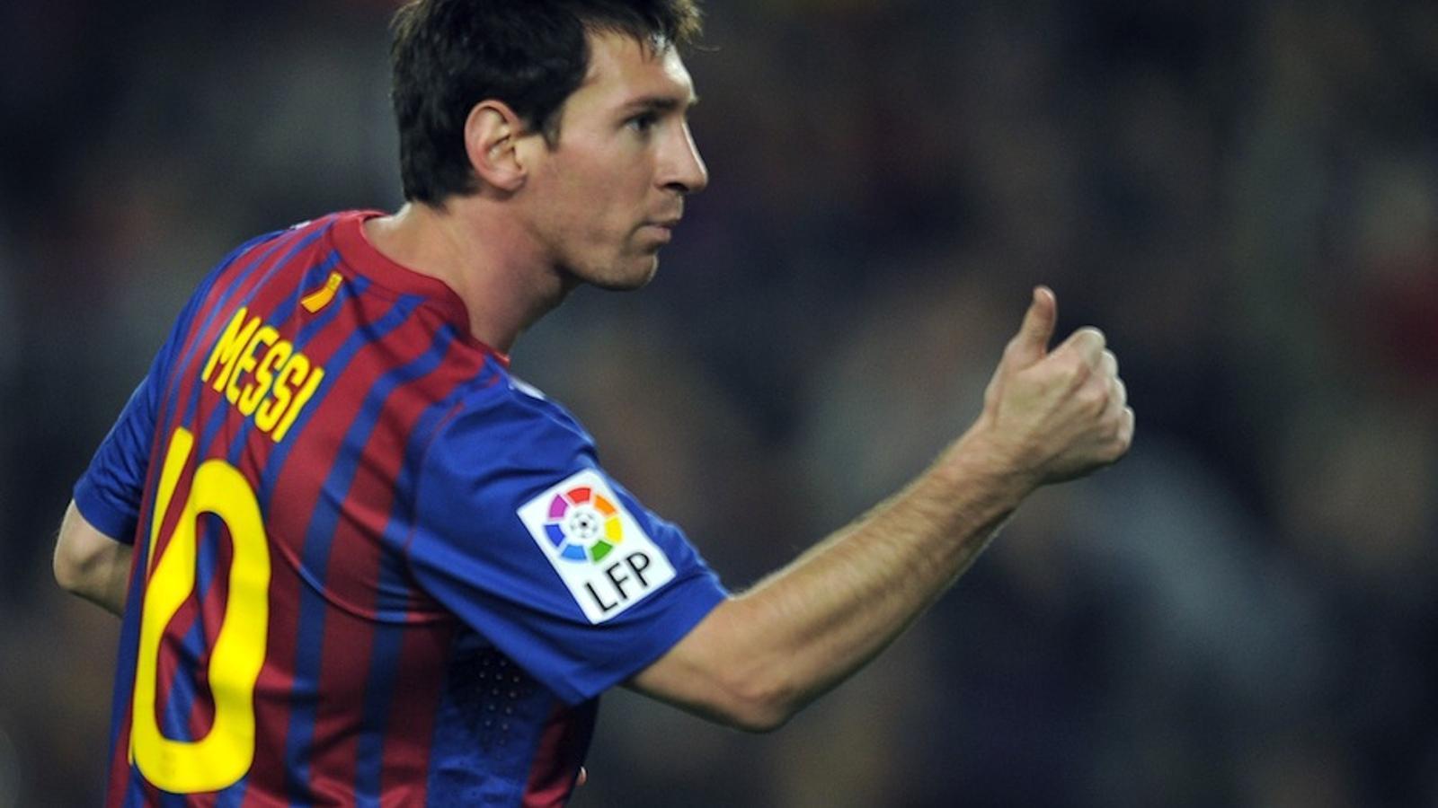 Leo Messi celebra un dels gols contra el Mallorca.
