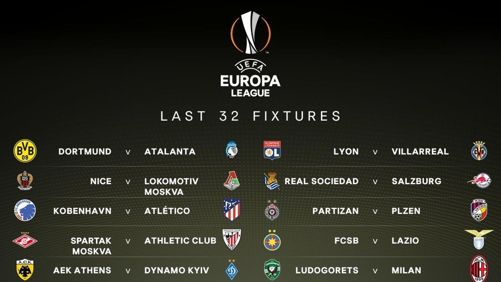 Resultat del sorteig de setzens de final de l'Europa League