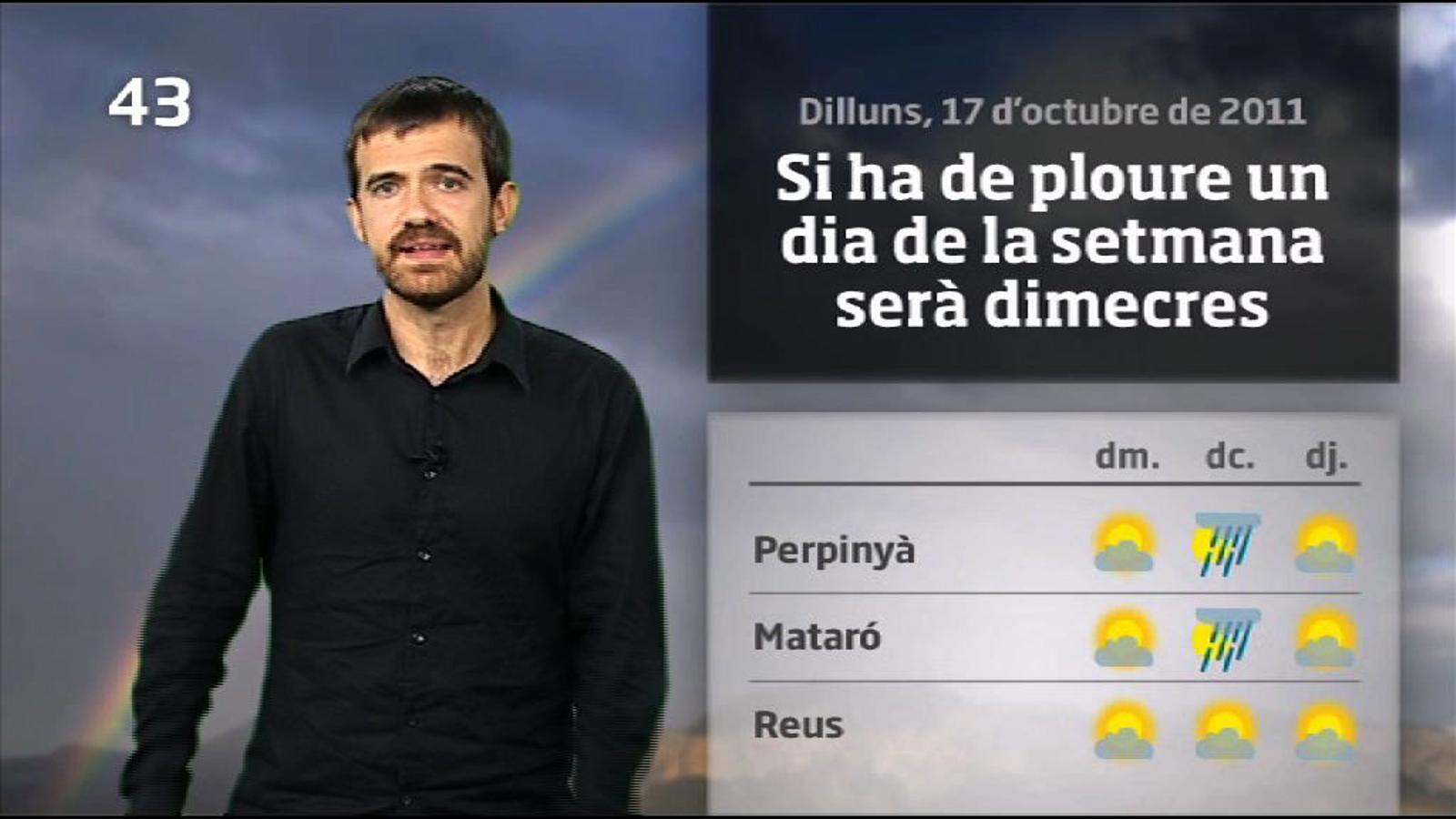 La méteo en 1 minut: tongada de xàfecs dimecres (18/10/2011)