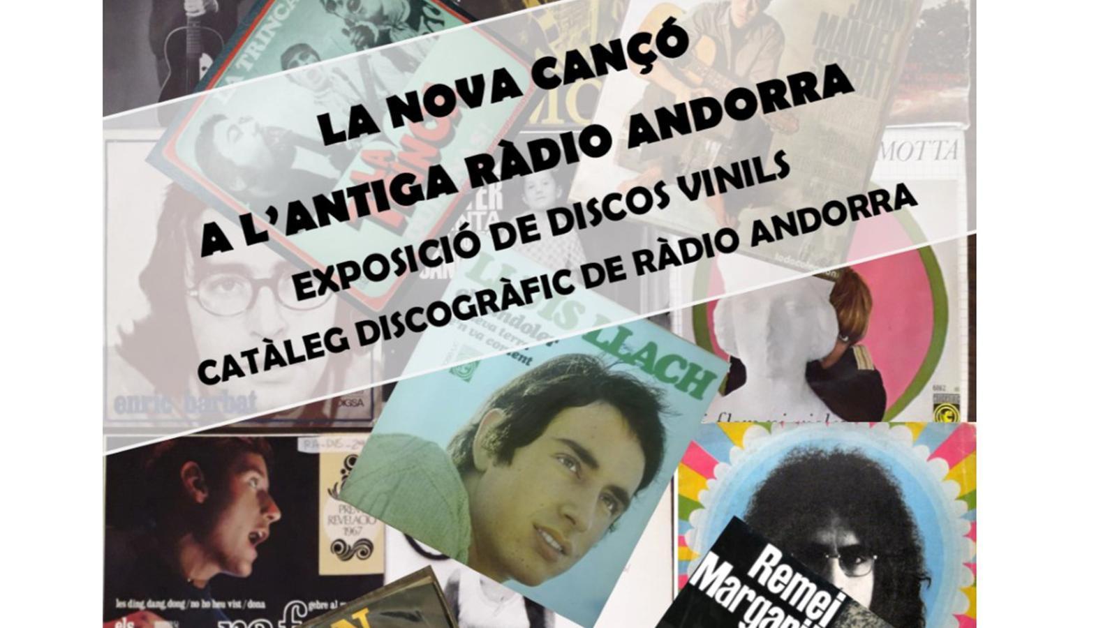 Cartell sobre l'exposició 'La Nova Cançó a través dels discos de la col·lecció de l'antiga Ràdio Andorra'. / GOVERN D'ANDORRA