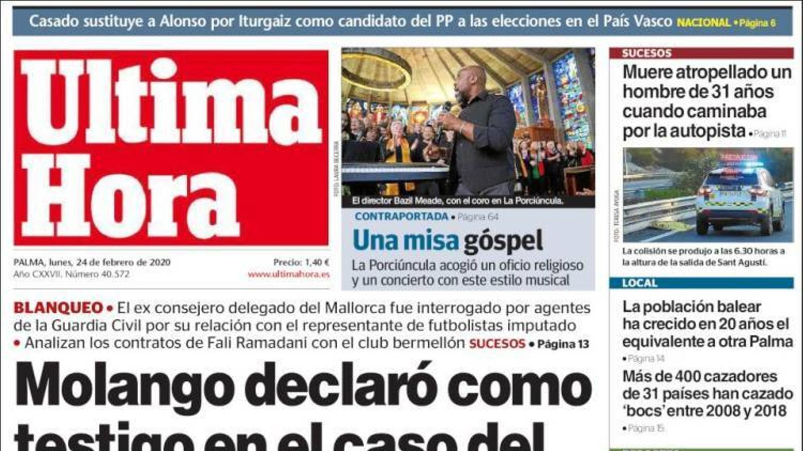 """""""Molango va declarar com a testimoni en el cas del frau fiscal milionari"""", portada de l''Última Hora'"""