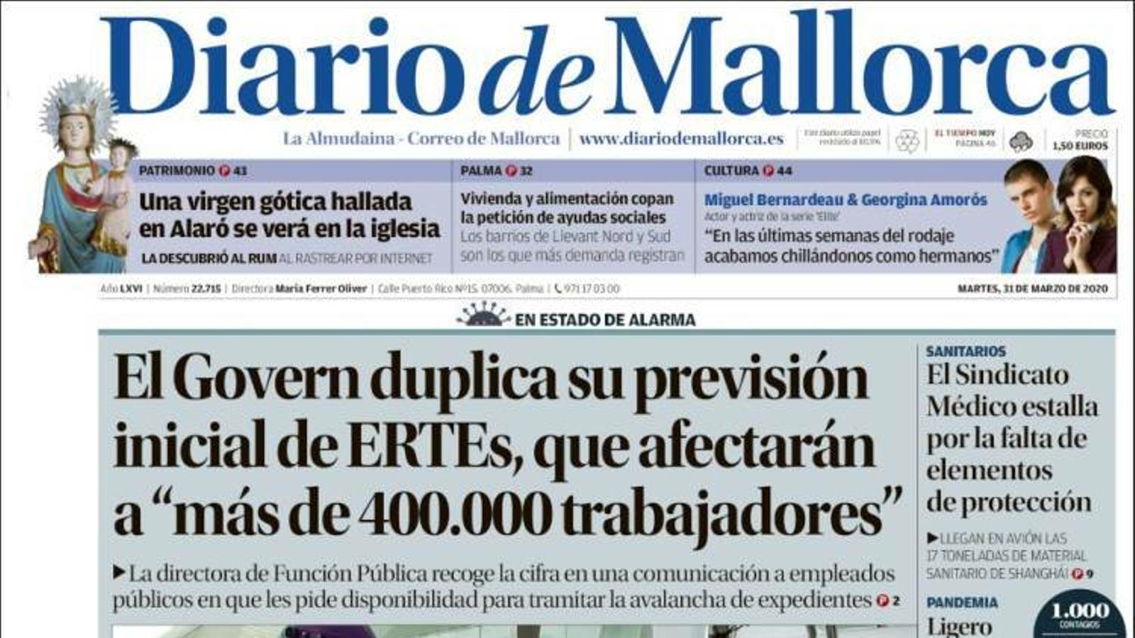 """""""El Govern duplica la seva previsió d'ERTOs, que afectaran """"més de 400.000 treballadors"""""""", a la portada de 'Diario de Mallorca'"""