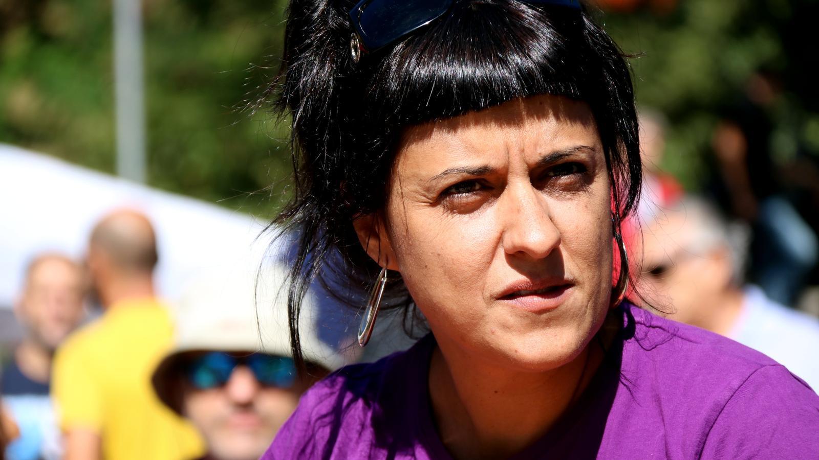 Anna Gabriel, durant el míting de la CUP a Terrassa