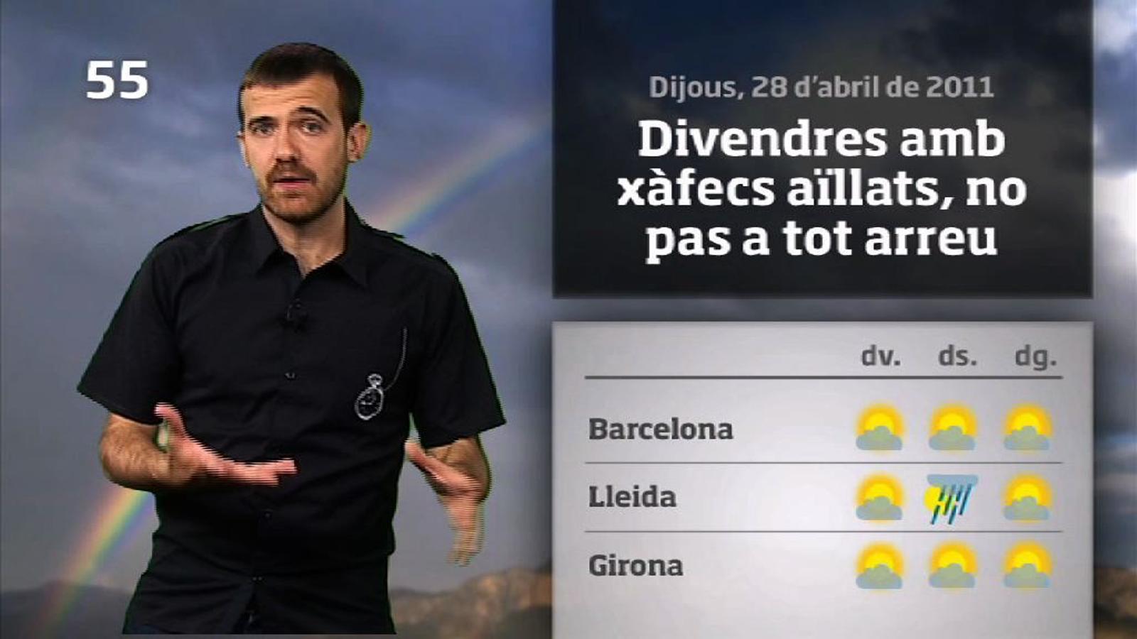 La méteo en 1 minut: cap de setmana variable però amb menys tempestes (28/04/2011)
