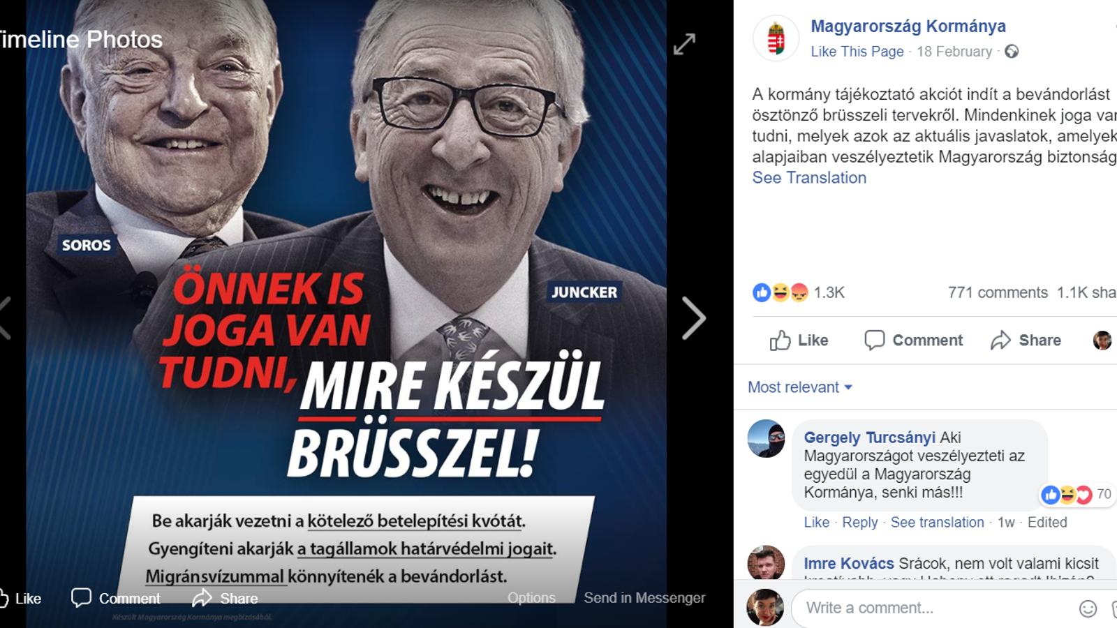 Hongria exaspera Brussel·les amb una campanya que acusa Juncker d'obrir les portes a la immigració