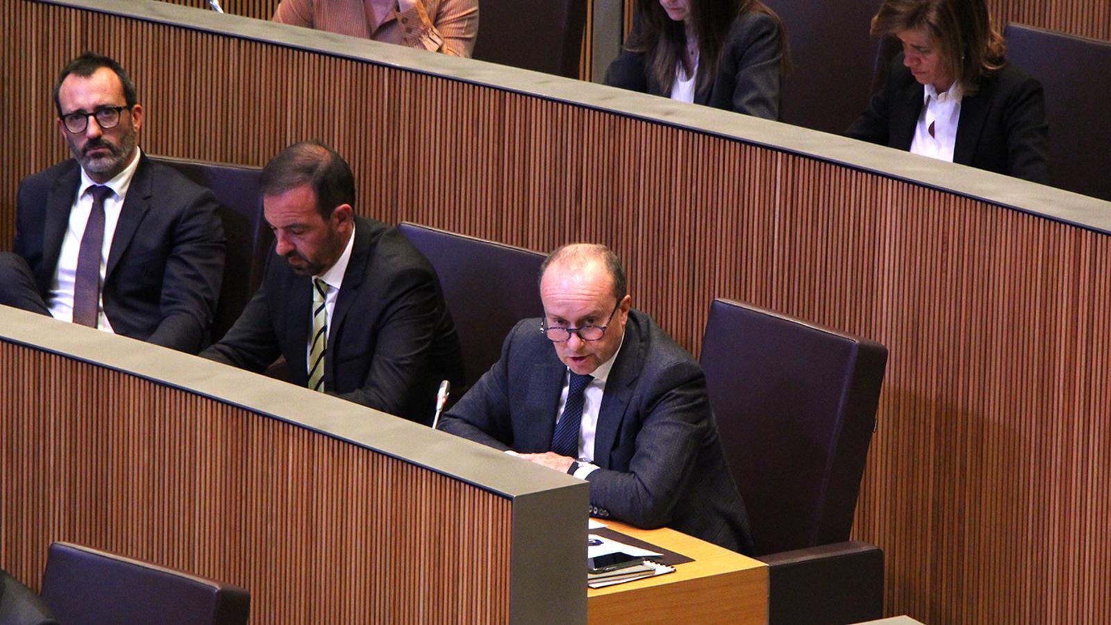 El ministre de Justícia i Interior, Josep Maria Rossell, durant la sessió de Consell General. / M. F. (ANA)