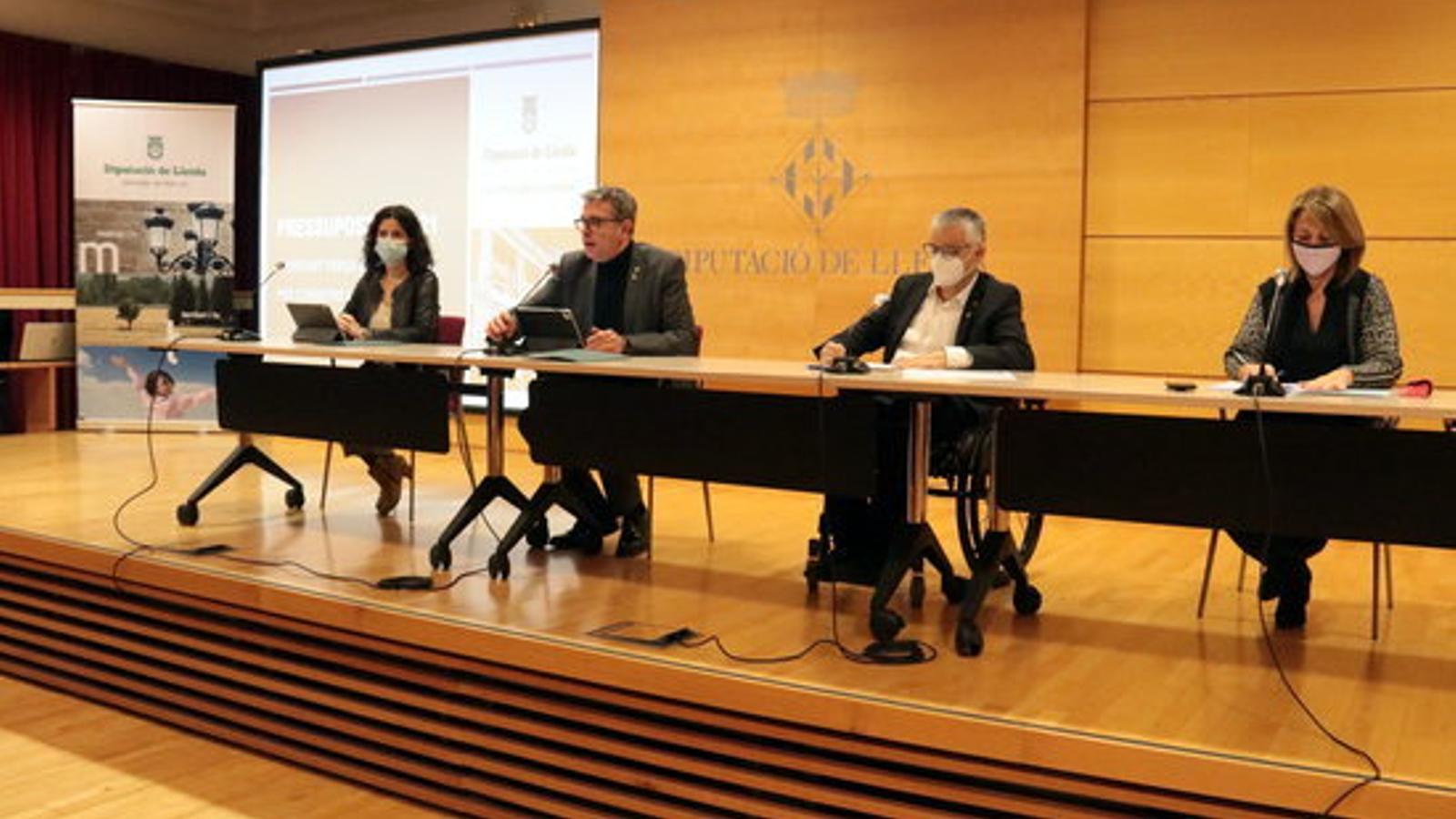 Un moment de la presentació del pressupost de la Diputació de Lleida per al 2021. / ACN