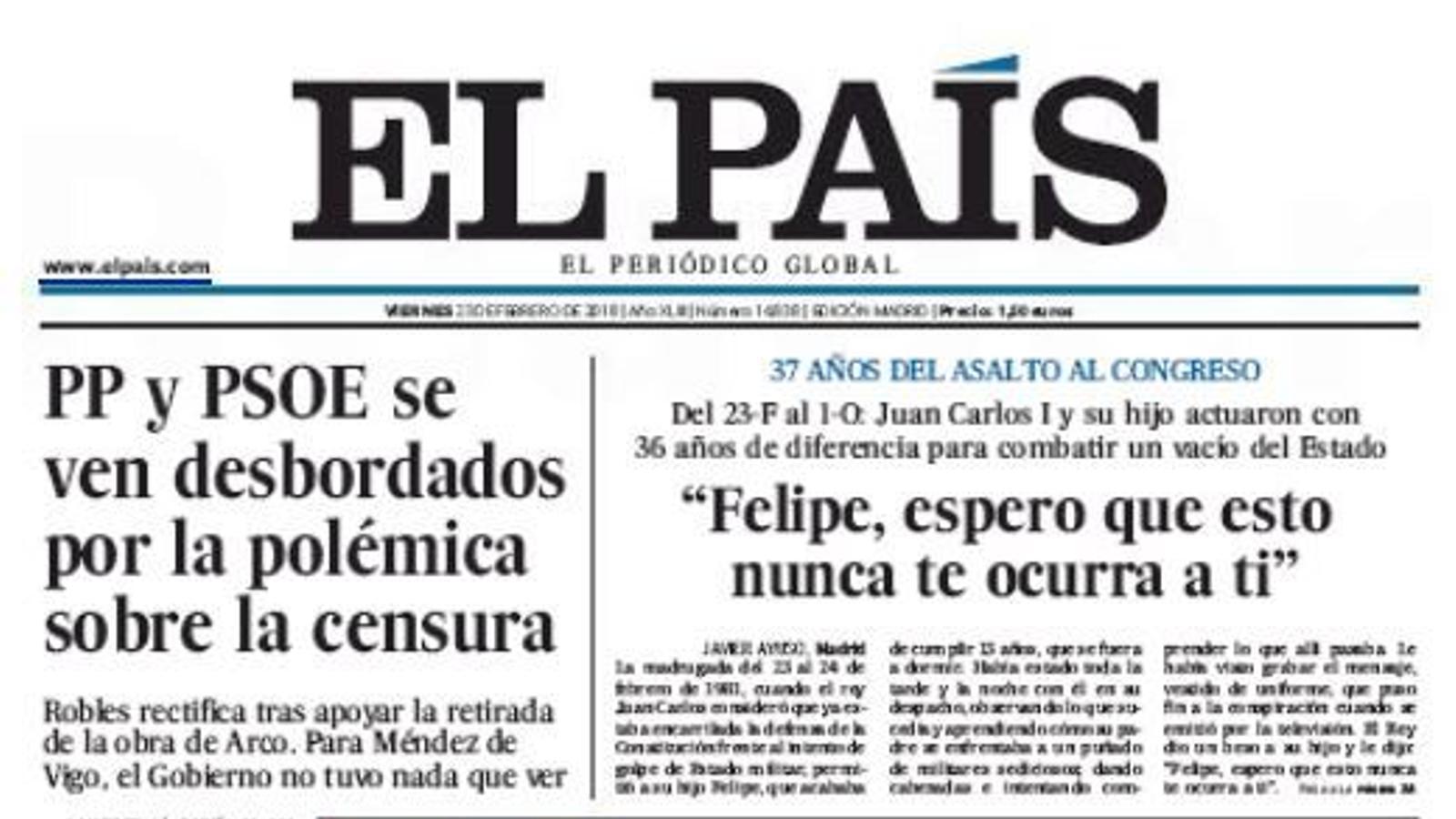 Portada d'El País, 23 de febrer del 2018