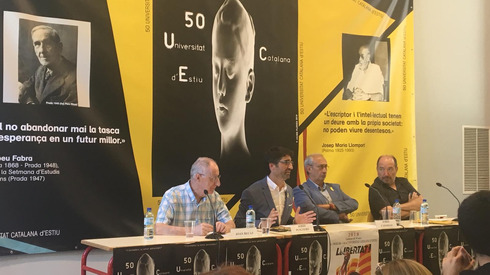 El conseller de Polítiques Digitals i Administració Pública, Jordi Puigneró, durant l'acte a la Universitat Catalana d'Estiu