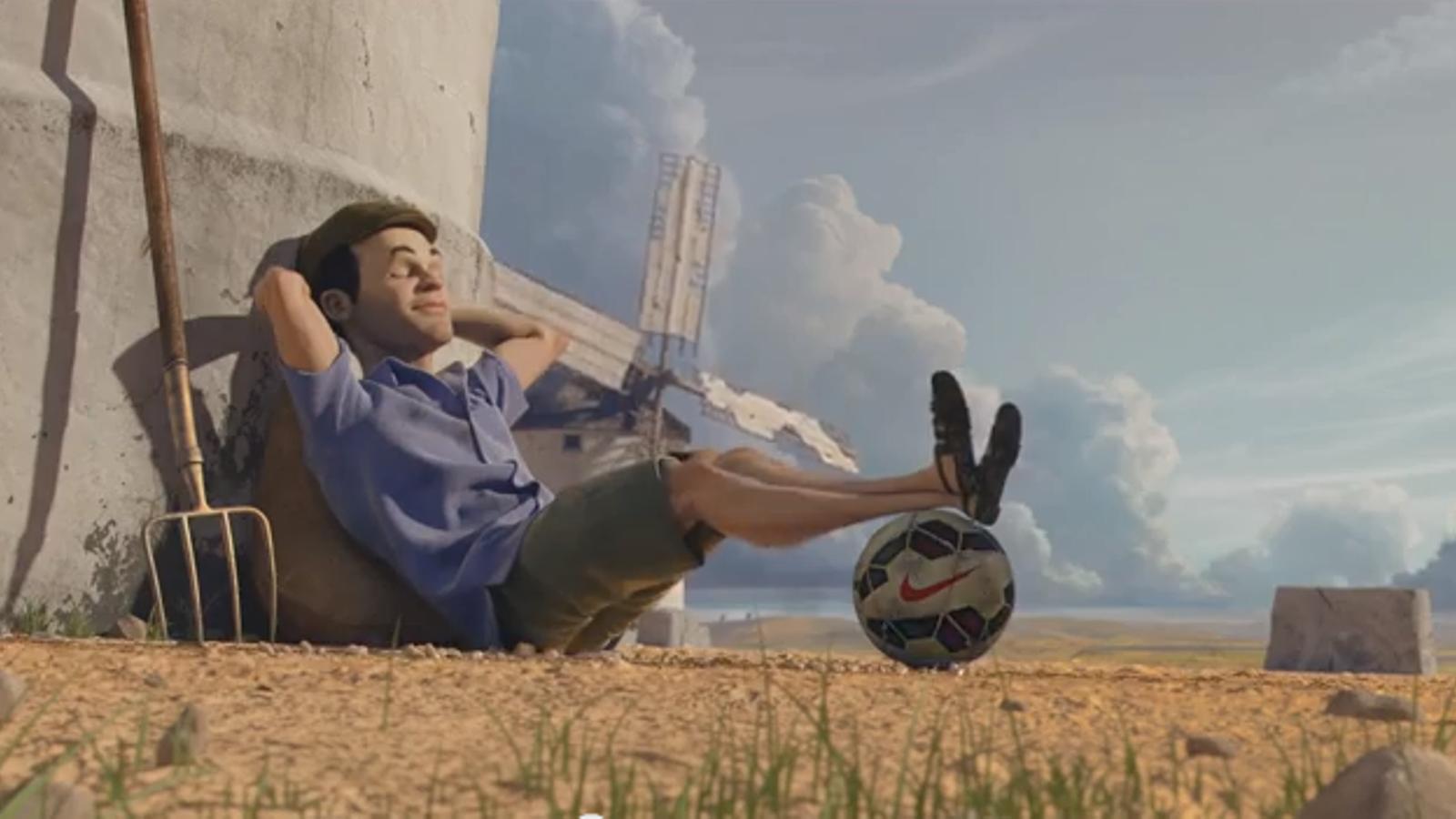Neymar fent de perruquer i Iniesta amb Molins de vent, al curt d'animació de Nike abans del Mundial