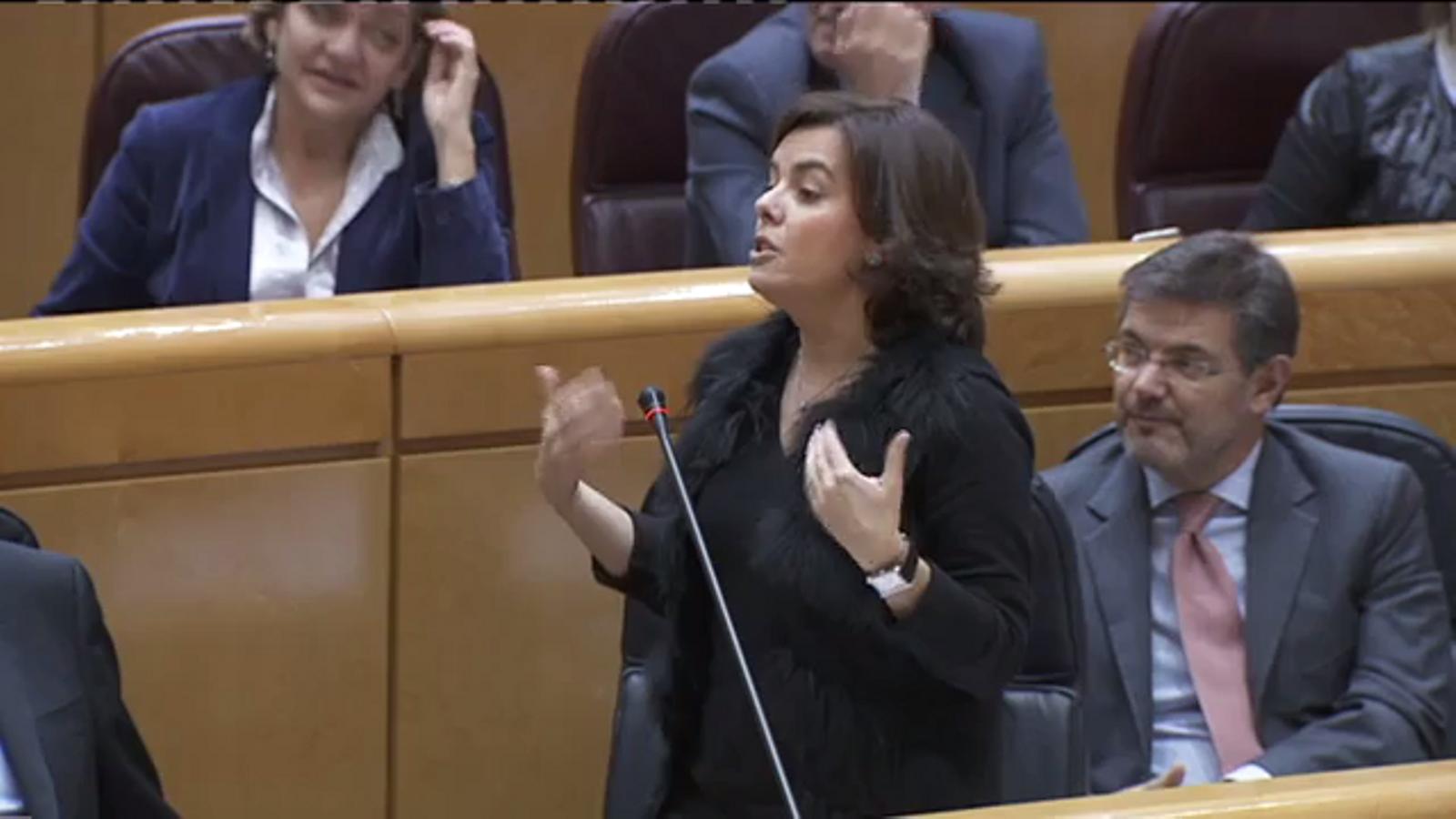 Pregunta de Cleries (PDECat) a Sáenz de Santamaría sobre els nous interlocutors a Catalunya durant la sessió de control al Senat