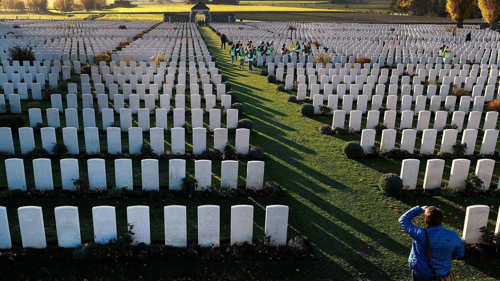 El cementiri de Tyne Cot, a Zonnebeke, on hi ha enterrats soldats de la Primera Guerra Mundial