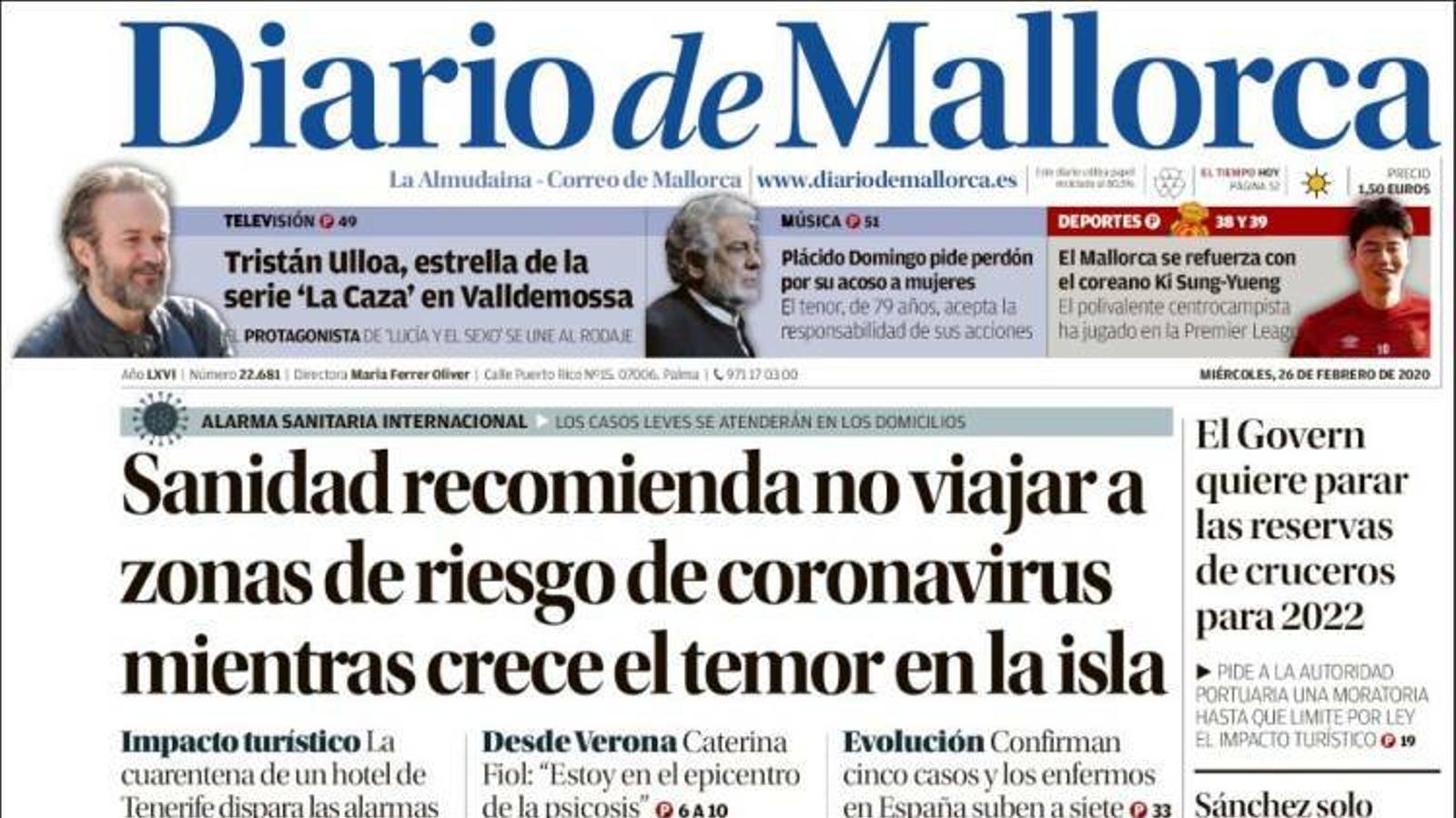 """""""Sanitat recomana no viatjar a zones de risc decoronavirusmentre creix el temor a l'illa"""", portada de 'Diario de Mallorca'"""
